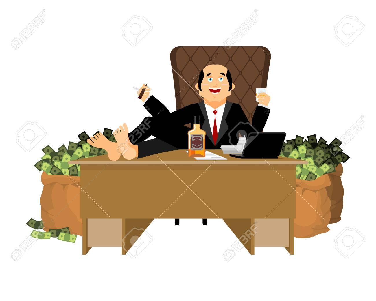 PatronAffaires Boit À WhiskyFumer Un CigarePlutocrate Argent Riche Homme Et SacGrand Du D'argent Est Beaucoup Table Assis DH2IE9