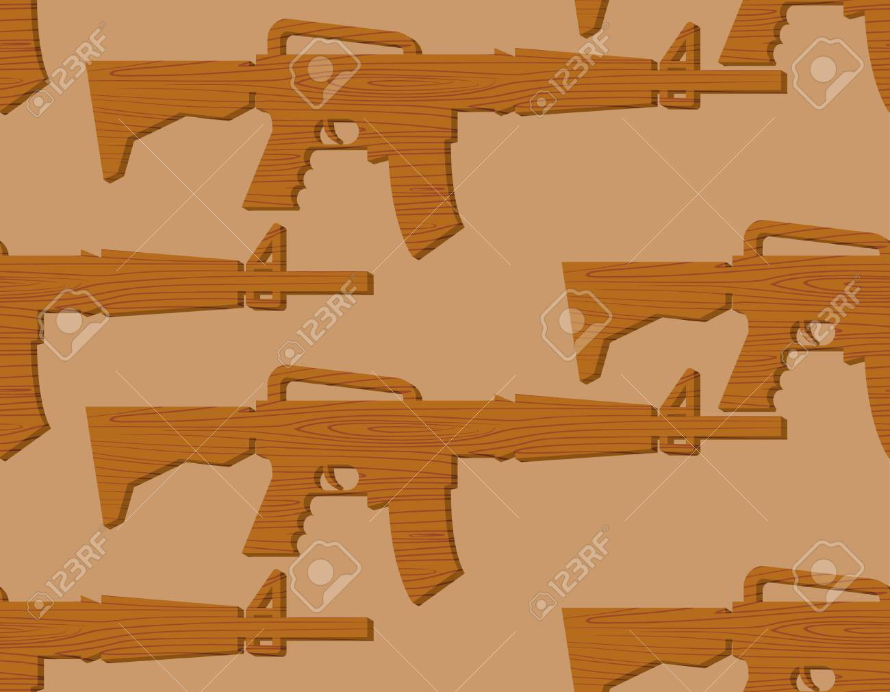 wooden gun kids pattern. board weapons background. childrens..
