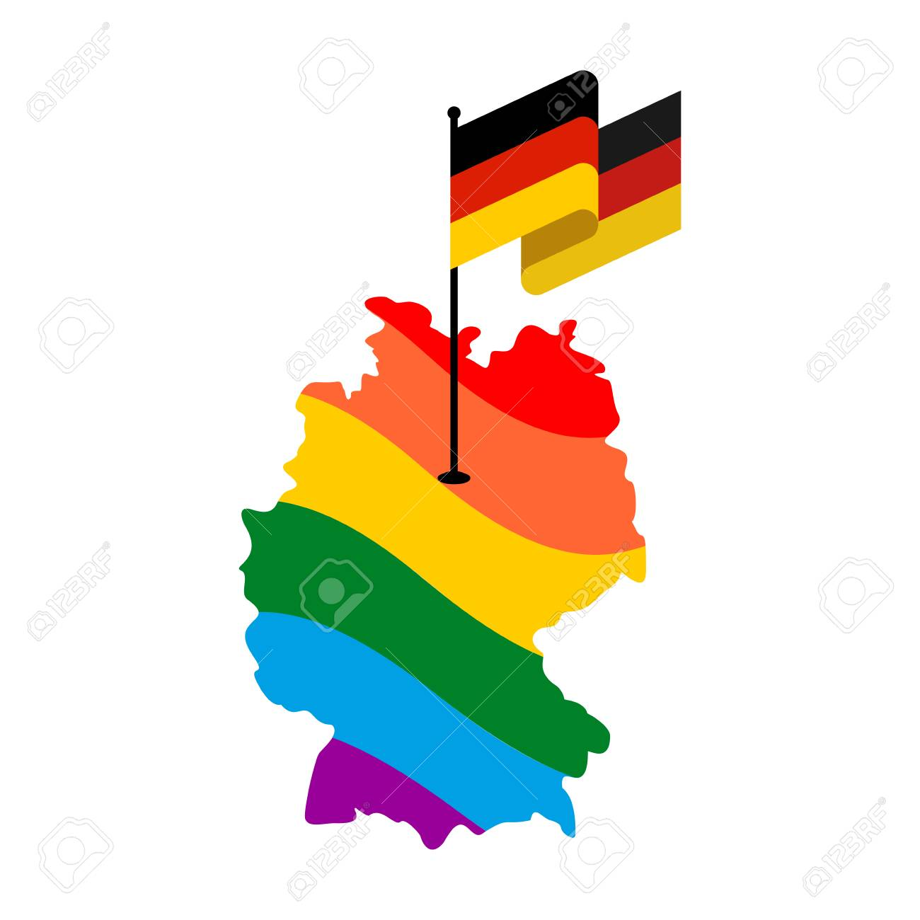 LGBT Germany. Map of Deutschland and flag. European Union country..