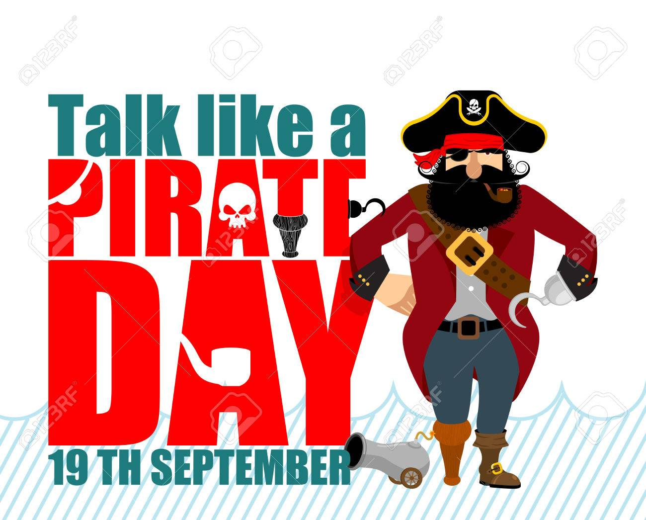 International Talk Like A Pirate Day. Pirate Hook and cannon. Eye patch and smoking pipe. filibuster cap. Bones and Skull. Head corsair black beard. buccaneer Wooden foot. - 85141367
