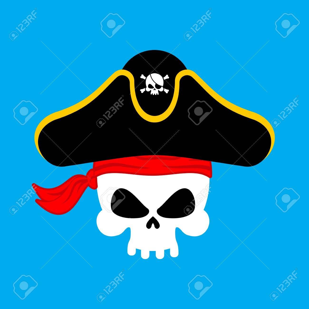 Retrato Del Pirata Del Cráneo En Sombrero. Parche En El Ojo. Tapa De ...