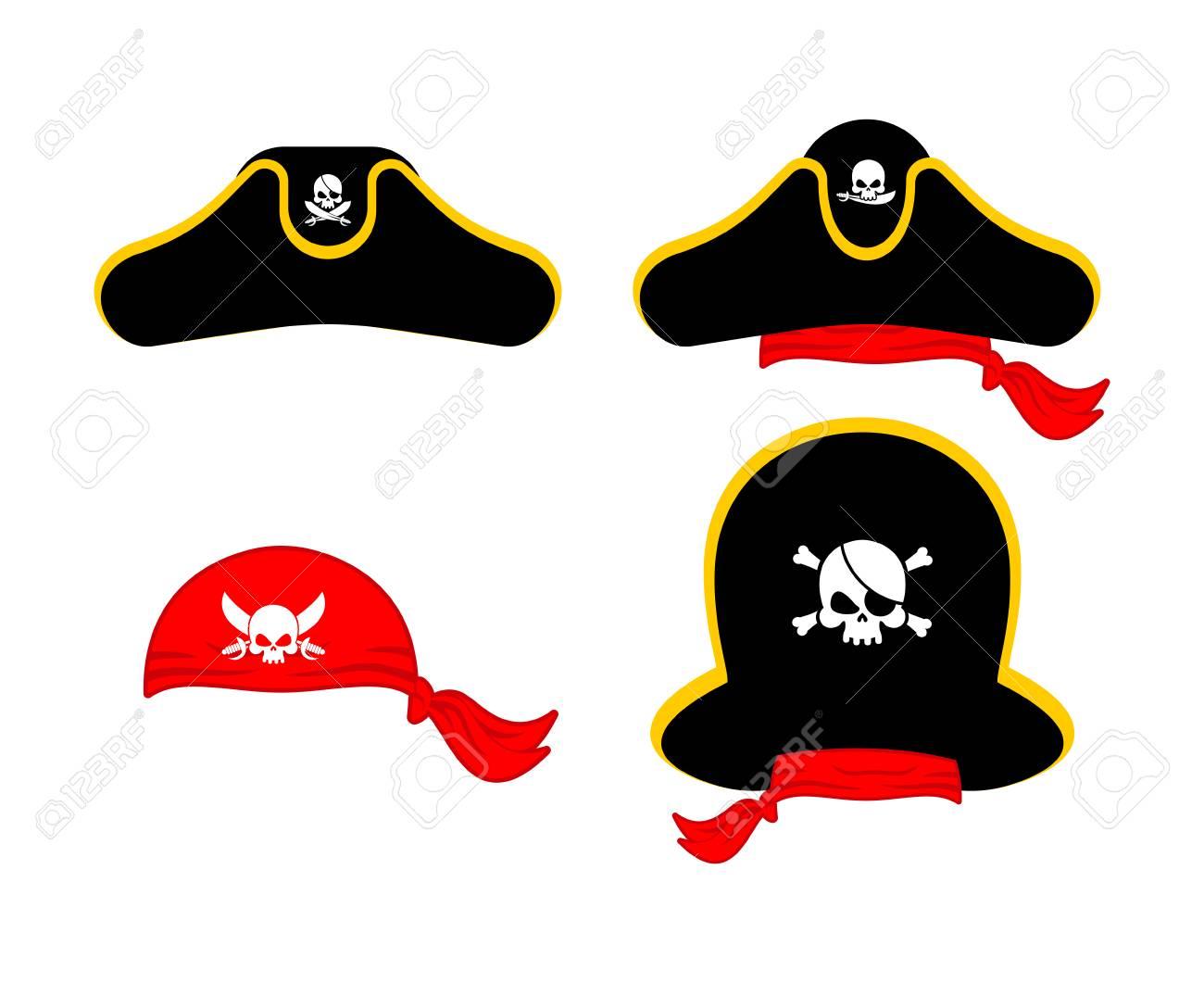 Pirates cap set. Hat buccaneer. Bones and skull. Corsair Accessory. Stock  Vector 1412ed9a25c