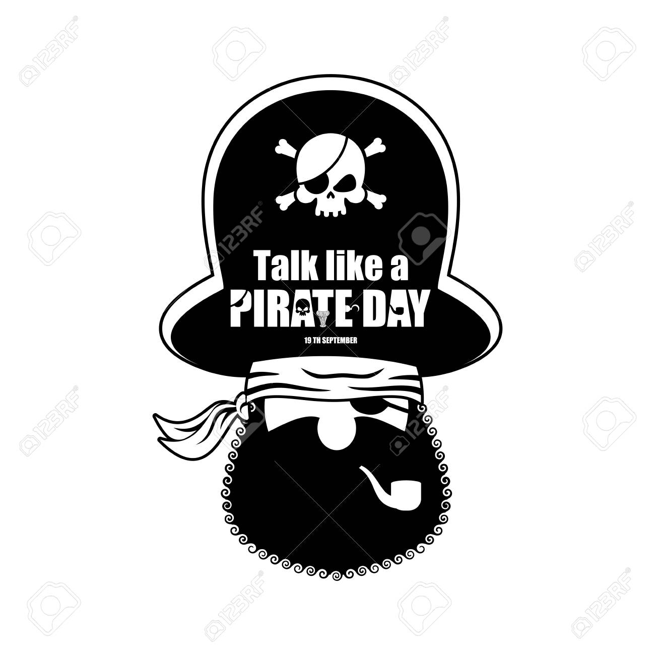 5fb0a1af85f International Talk Like A Pirate Day. Pirate portrait in hat. Eye patch and  smoking