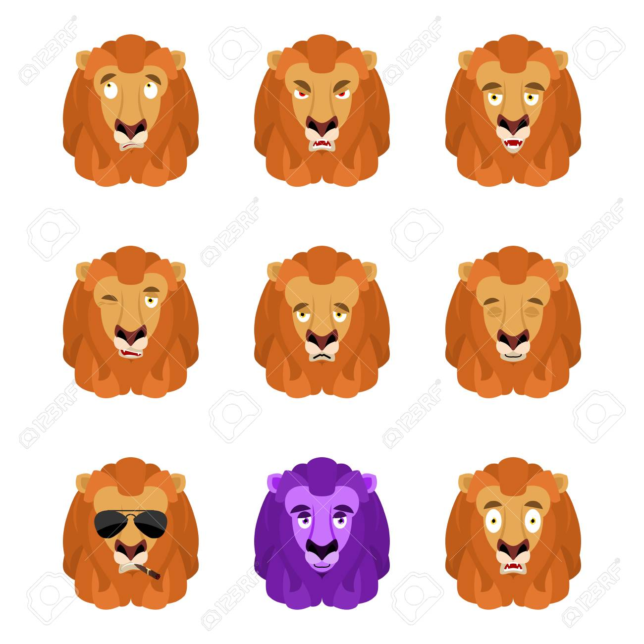 Lion Set Emoji Avatar On White Background Vector Illustration Royalty Free Cliparts Vectors And Stock Illustration Image 89907351 Download icons in all formats or edit the images for your designs. 123rf com