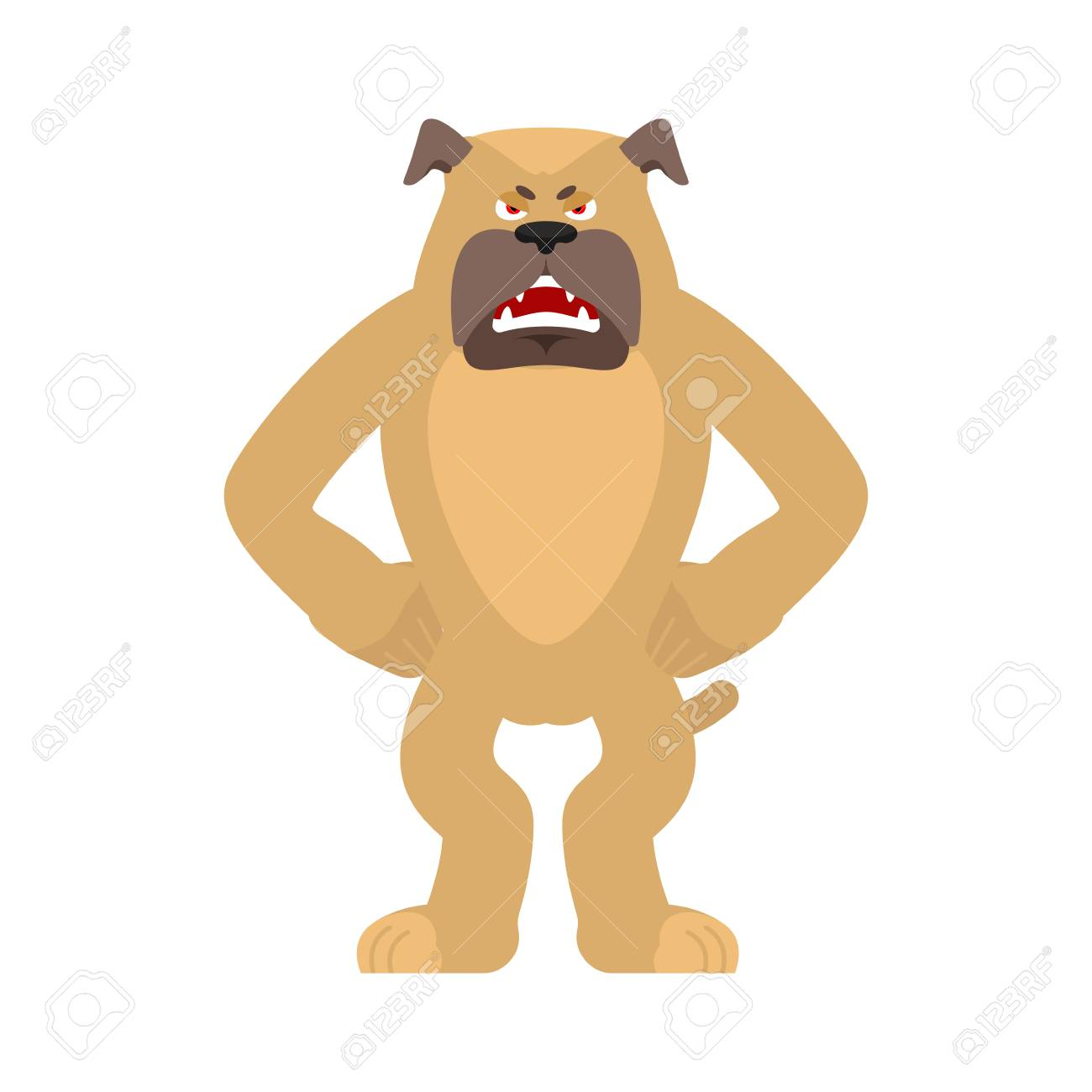 Dog angry  Pet evil emoji avatar  bulldog aggressive vector illustration