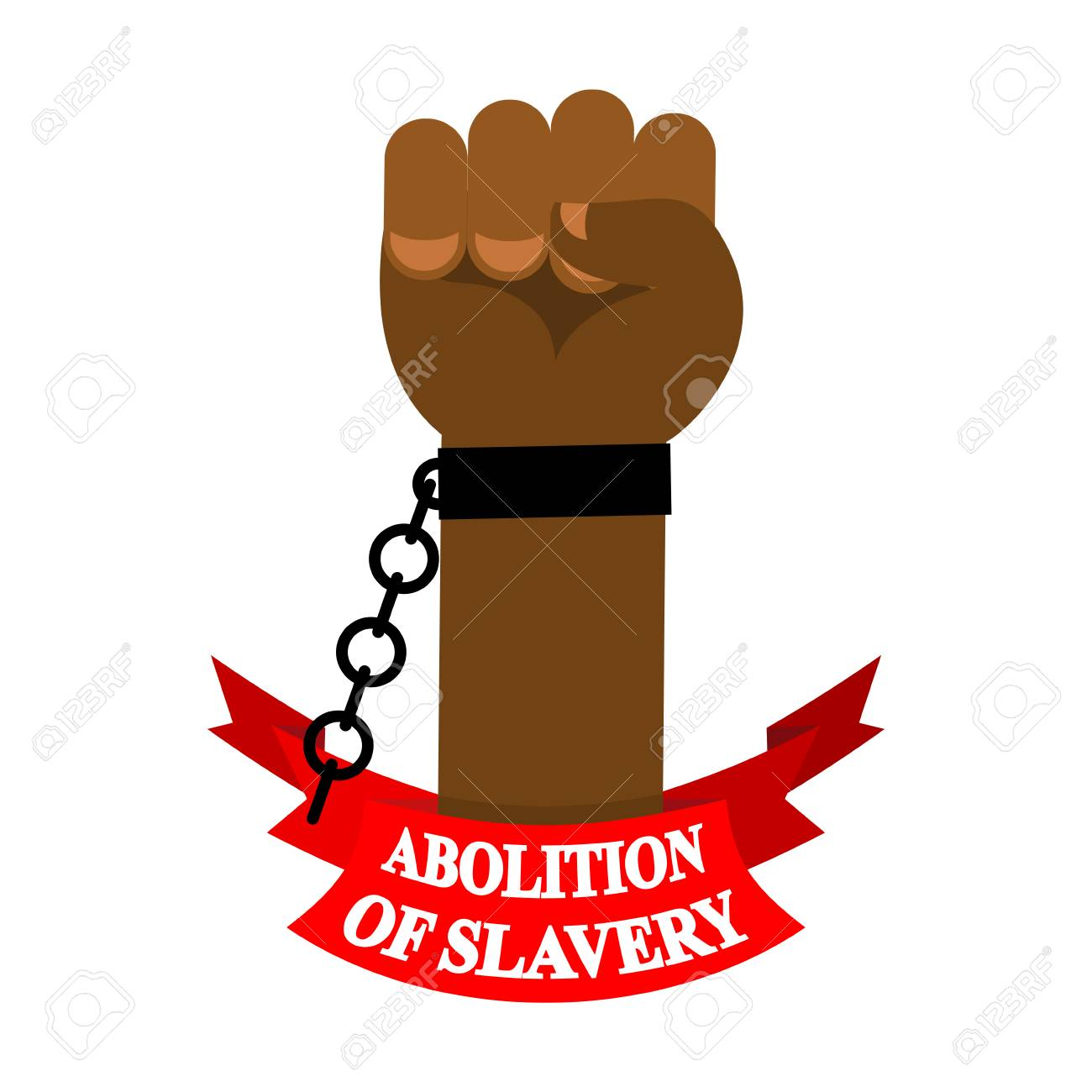 Abolition Of Slavery Arm Slave With Broken Shackles Chain Stock Vector