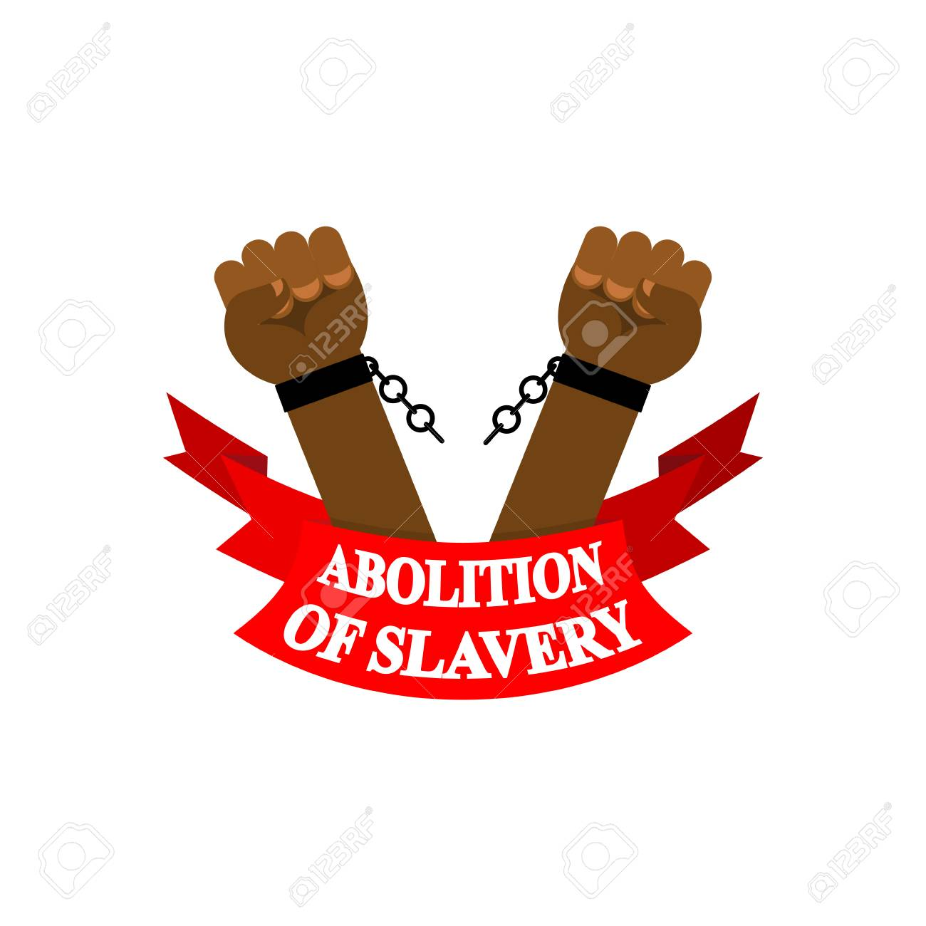 Arm Slave With Broken Shackles Chain Icon Stock Vector