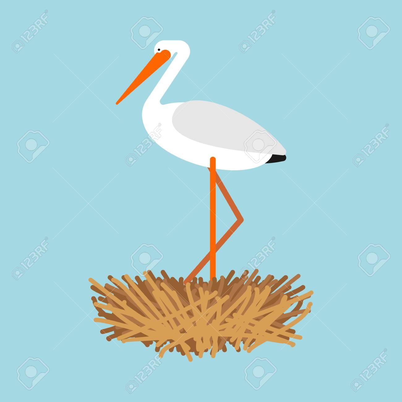 Stork in nest isolated. Bird Vector illustration - 114739973