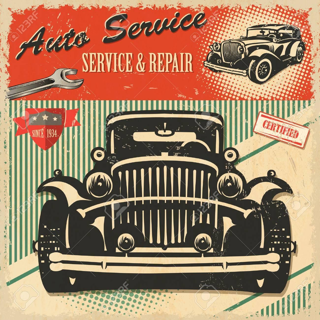 Vintage Auto Service Retro Poster Royalty Free Cliparts, Vectors ...