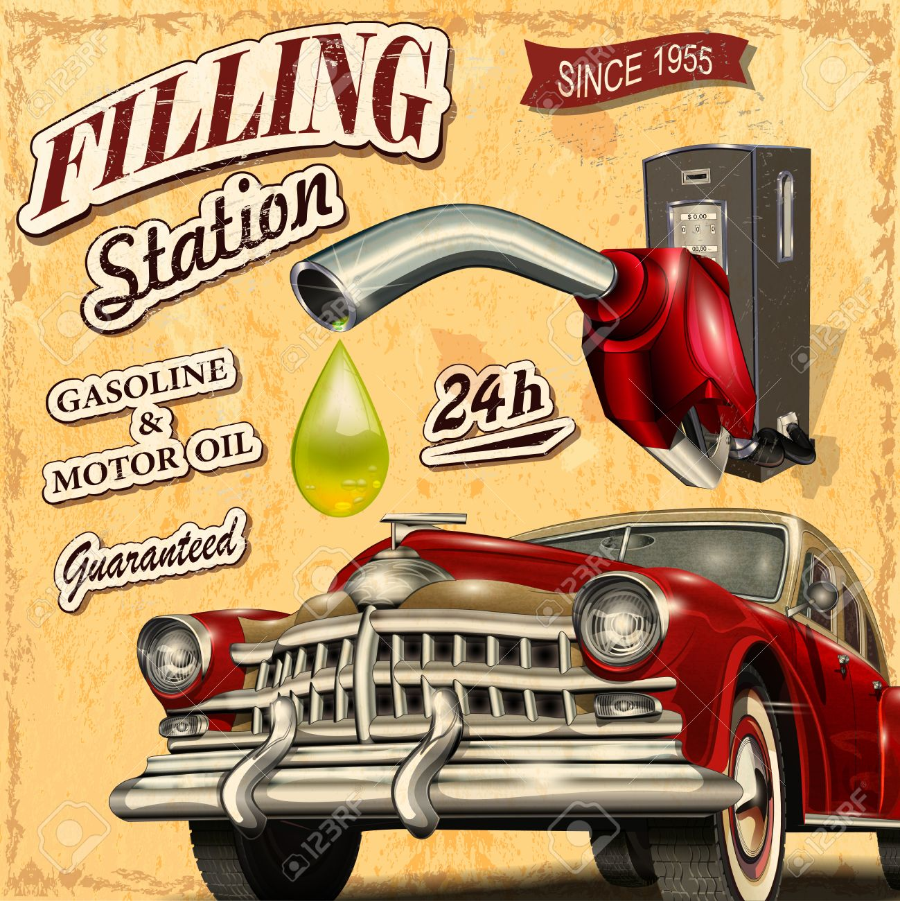 Filling station retro poster Stock Vector - 49142953