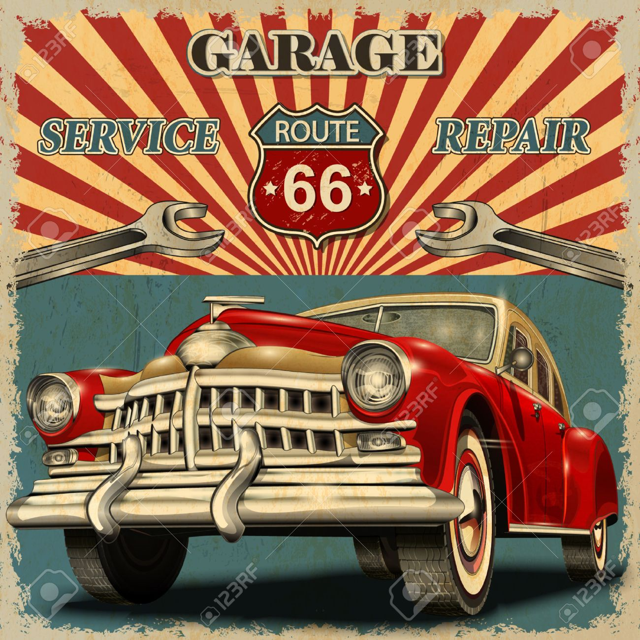 Vintage Garage Retro Poster Royalty Free Cliparts Vectors And Stock Illustration Image 49142886