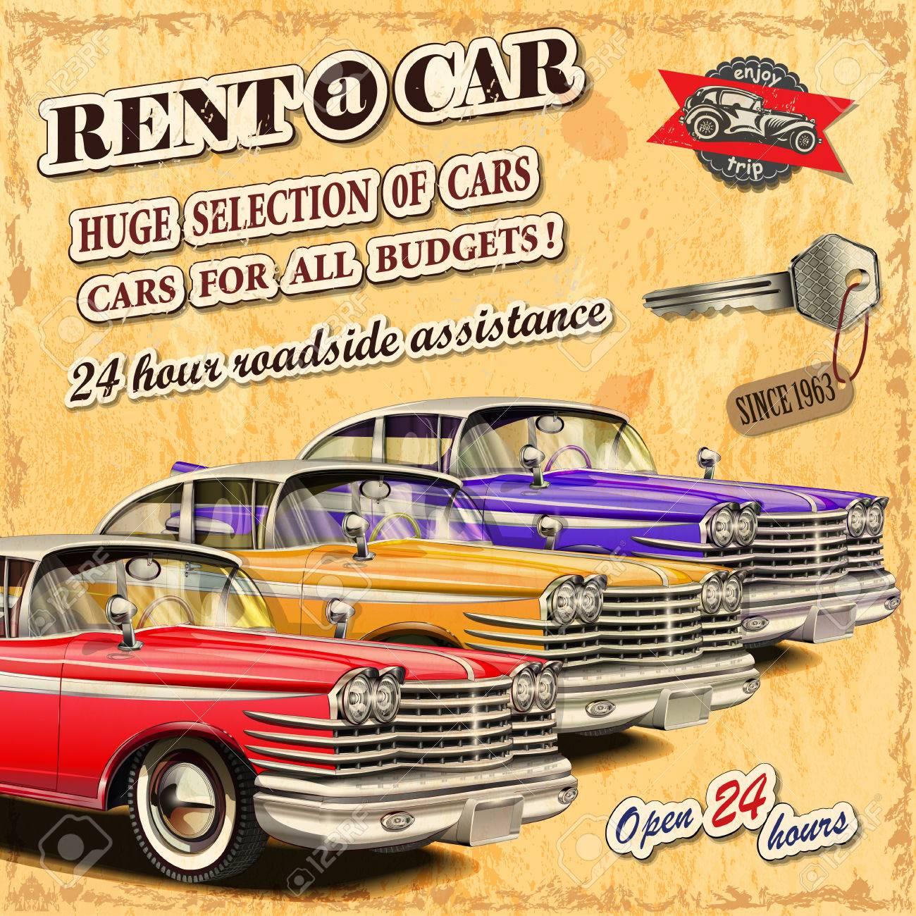 Rent a car retro poster. - 50143024