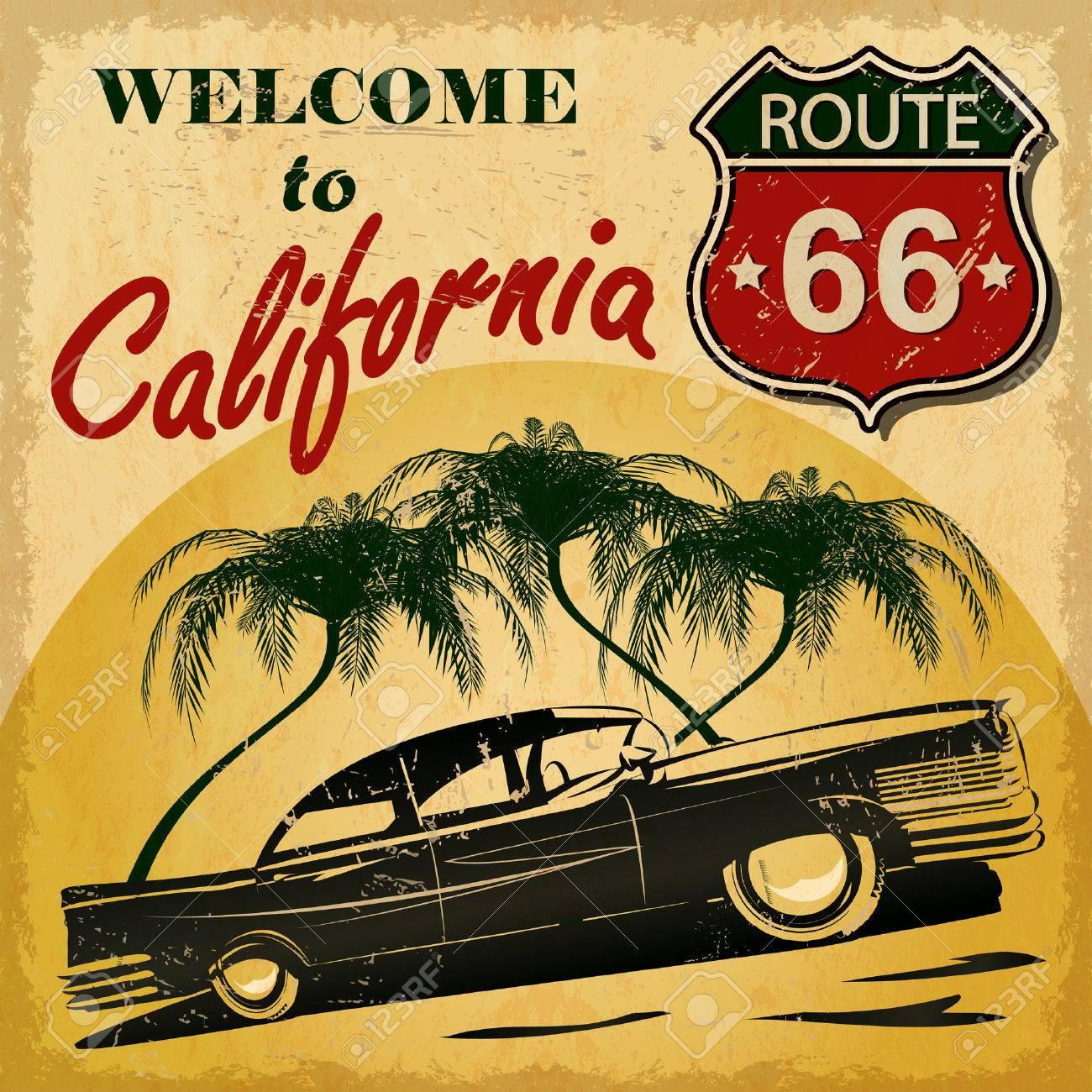Welcome to California retro poster. - 50143025