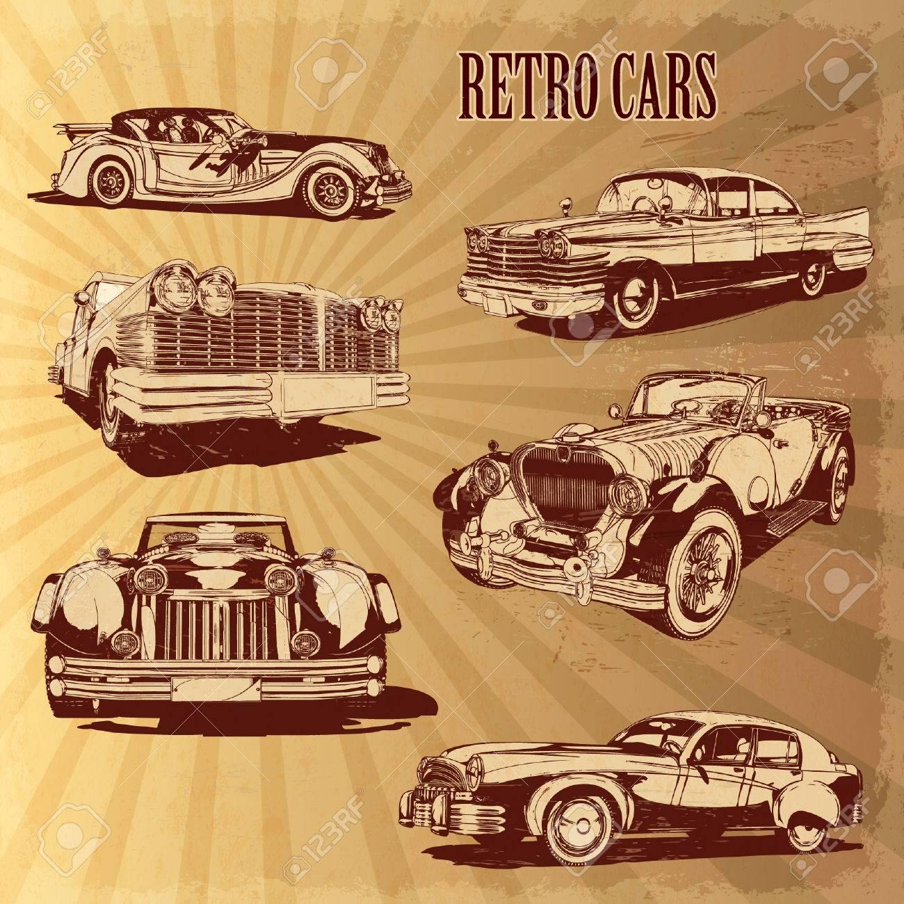 Silhouettes retro cars. - 50143096