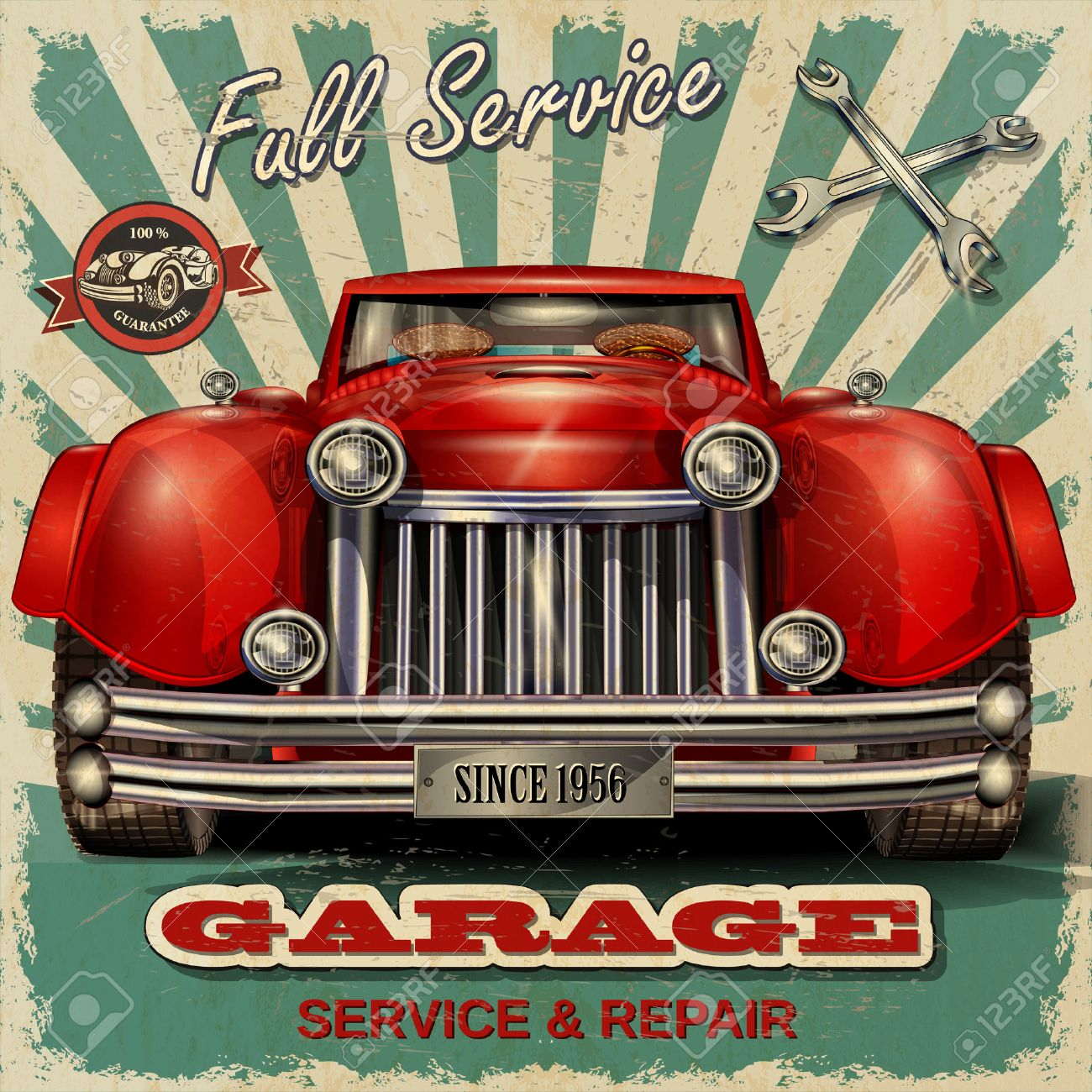Vintage garage retro poster - 50143097