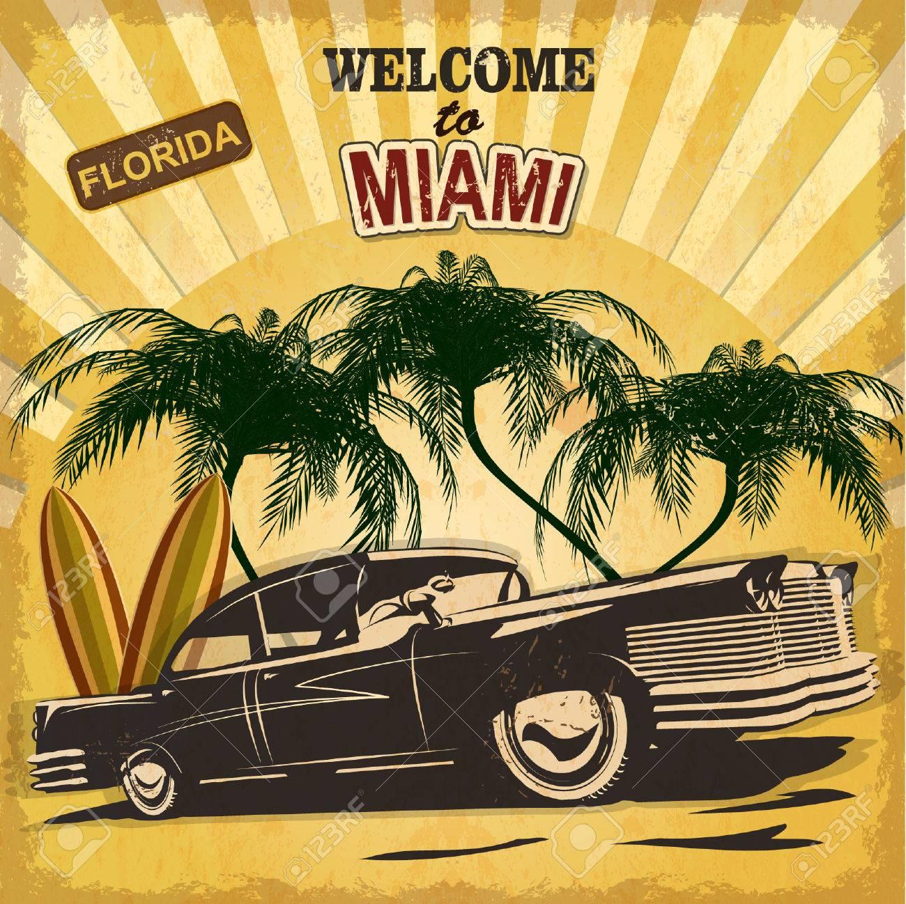 Welcome to Miami retro poster. - 50494392