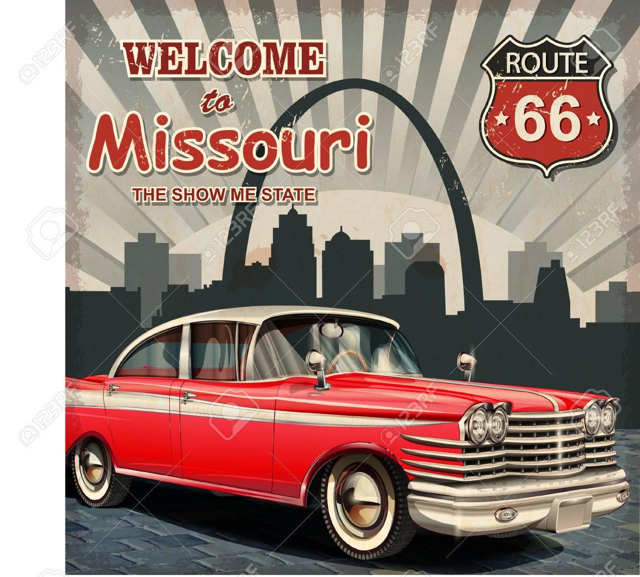 Welcome to Missouri retro poster. - 50494400