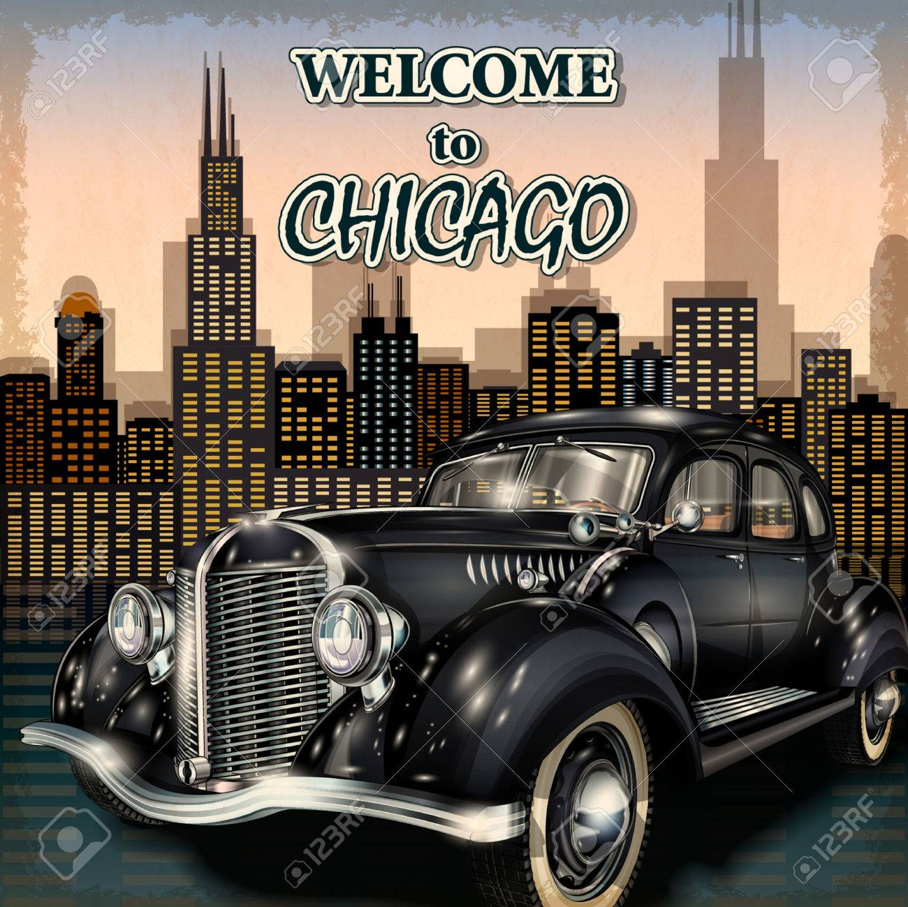 Welcome to Chicago retro poster. - 50494405