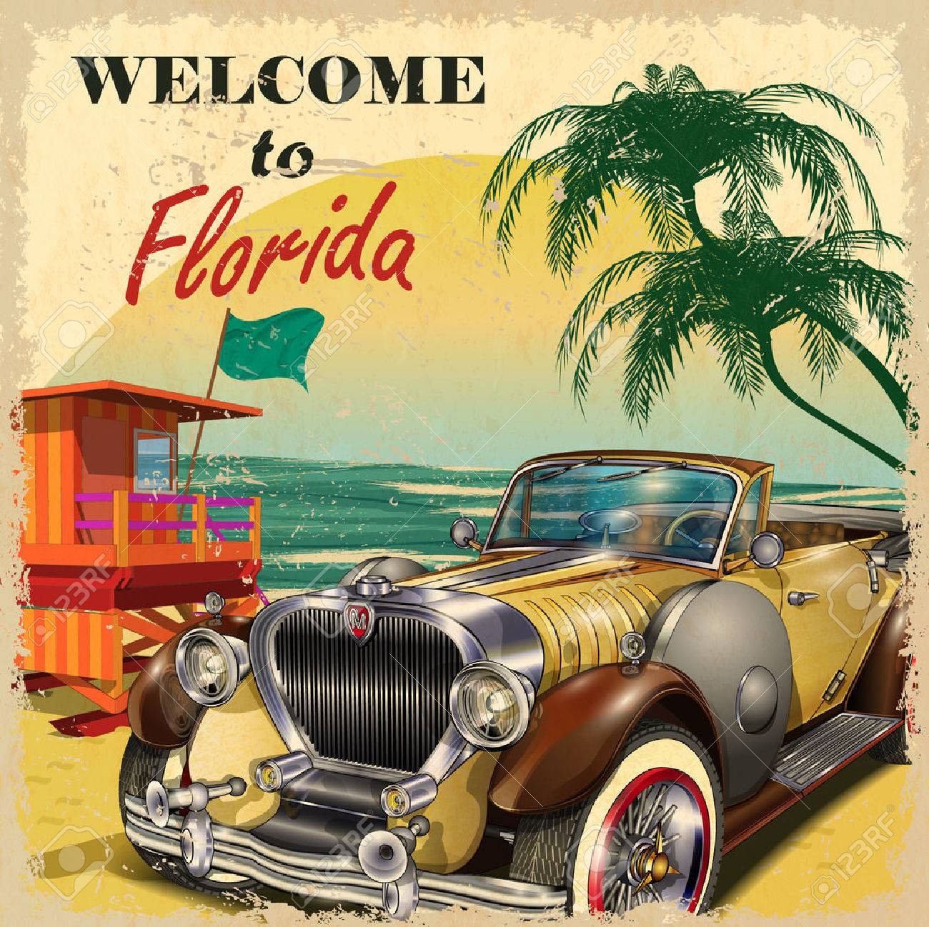 Welcome to Florida retro poster. - 52512513