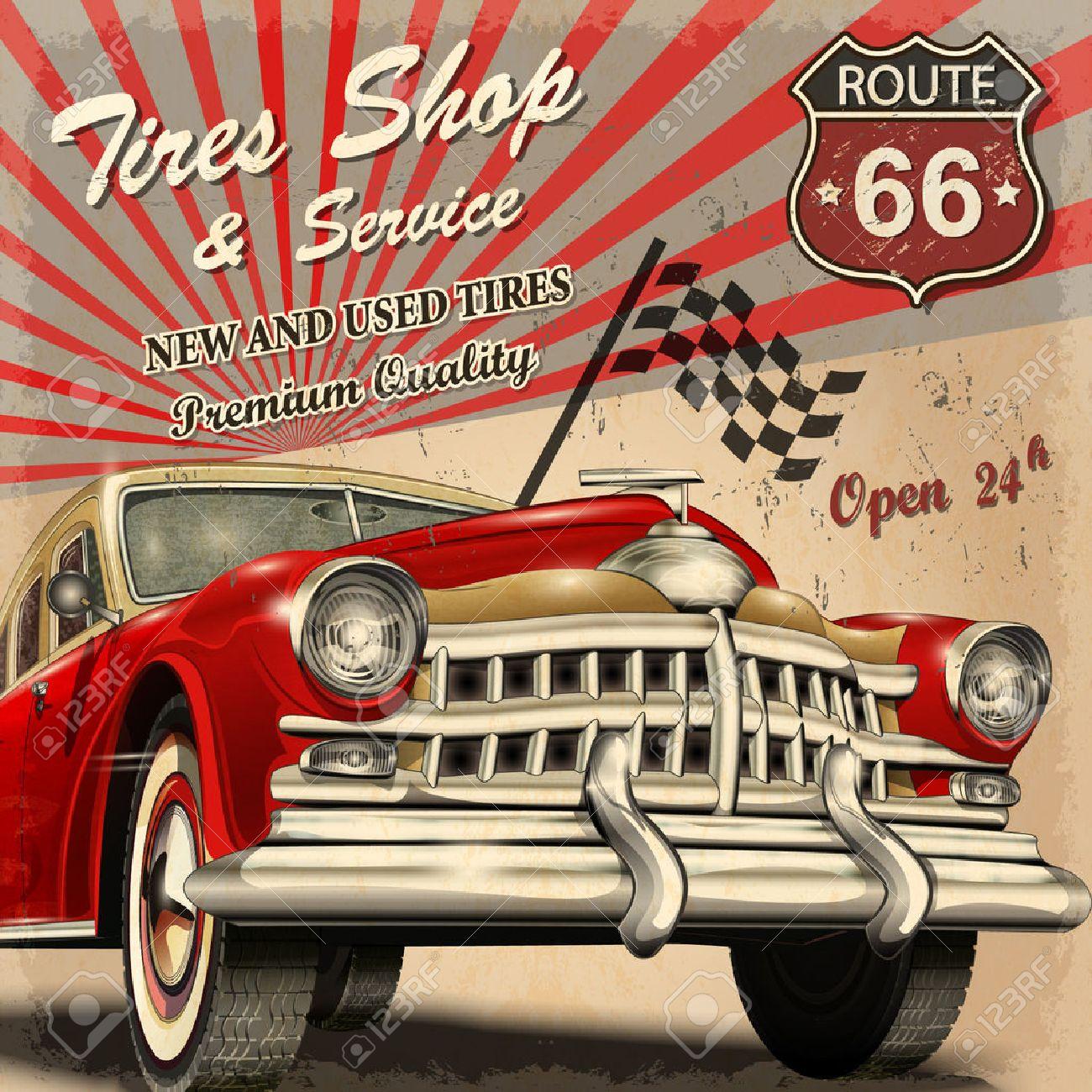 Tire service retro poster. - 54500645