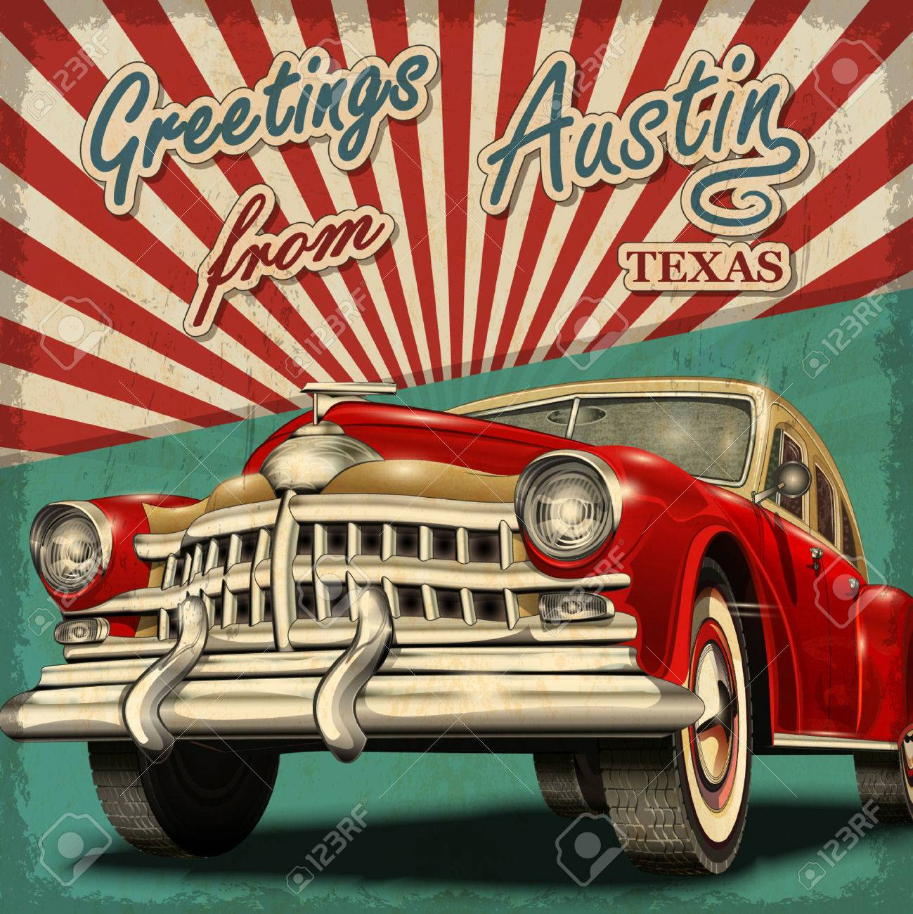 vintage touristic greeting card with retro car austin texas royalty
