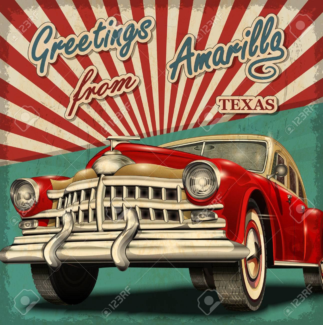 Vintage touristic greeting card with retro car.Amarillo.Texas. - 55953234
