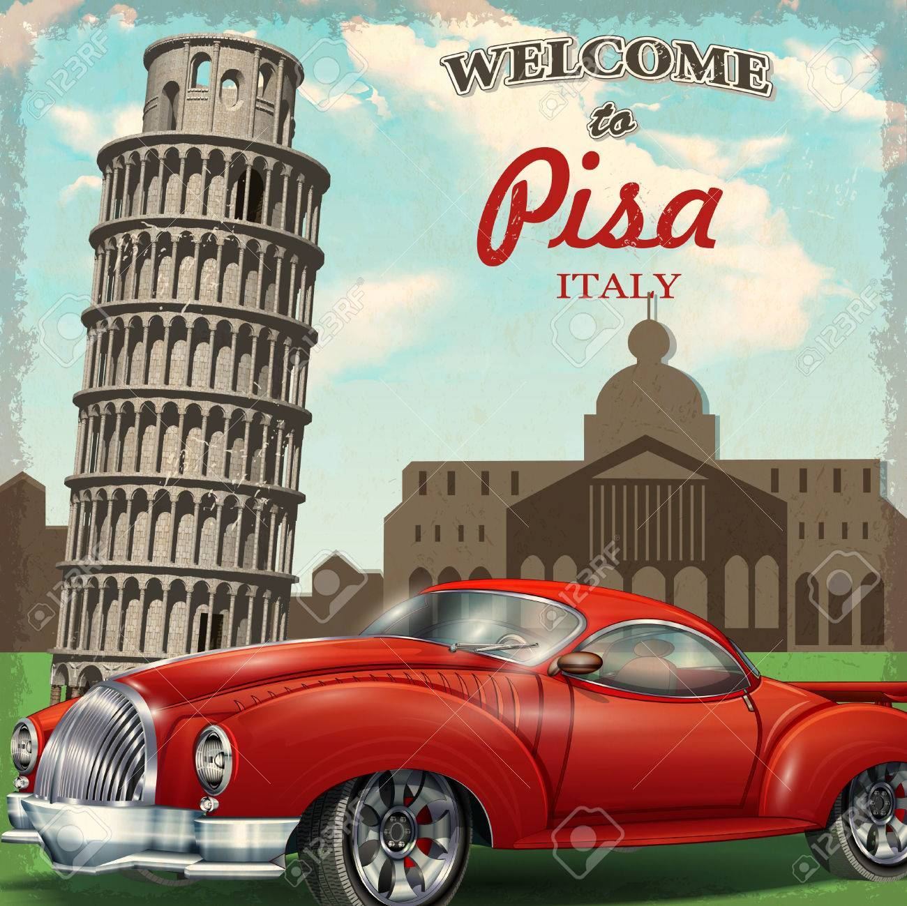 Welcome to Pisa retro poster. - 69427022
