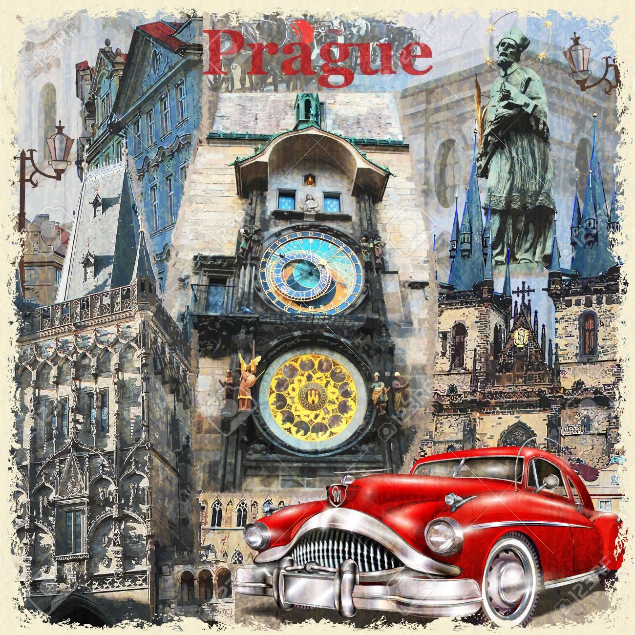 Prague vintage poster. - 69933022