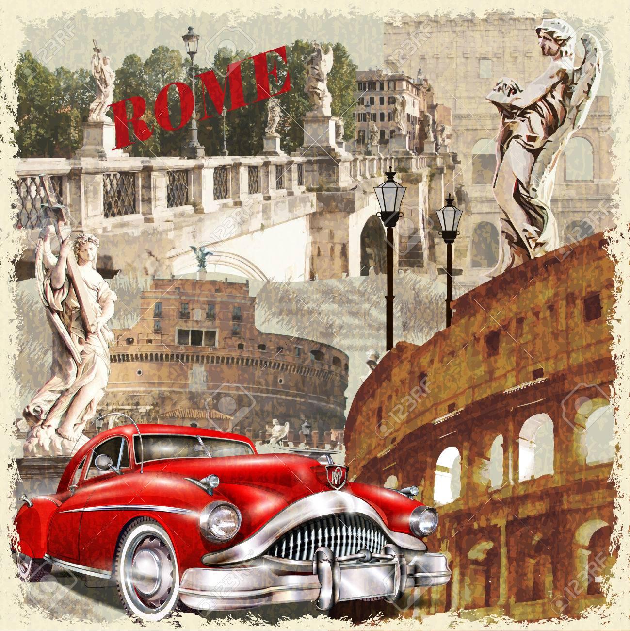 Rome vintage poster. - 69933354