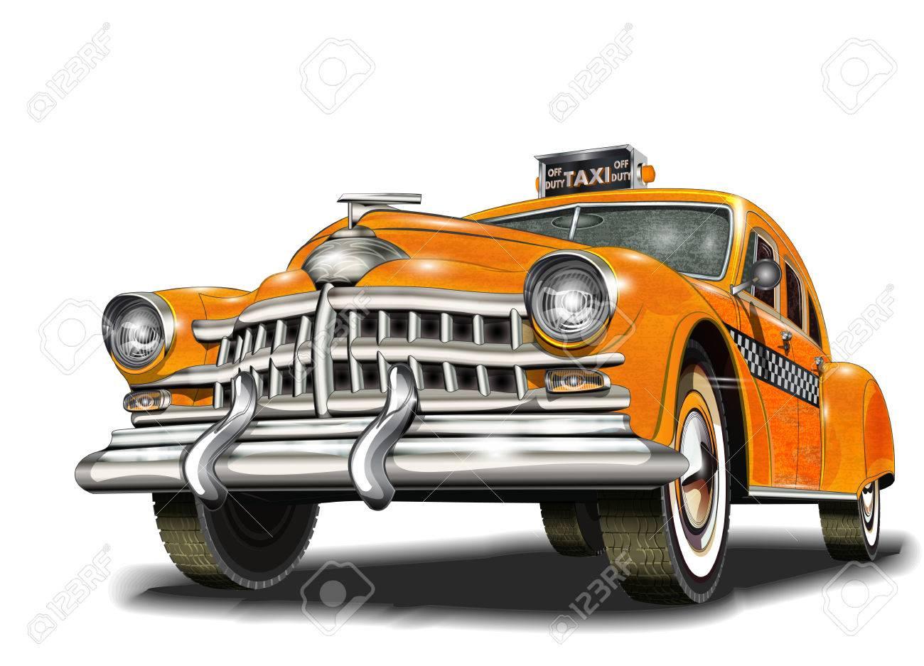 Yellow taxi retro car. - 70142242