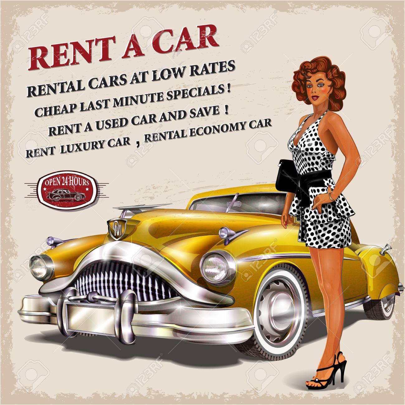 Rent a car retro poster. - 70277299