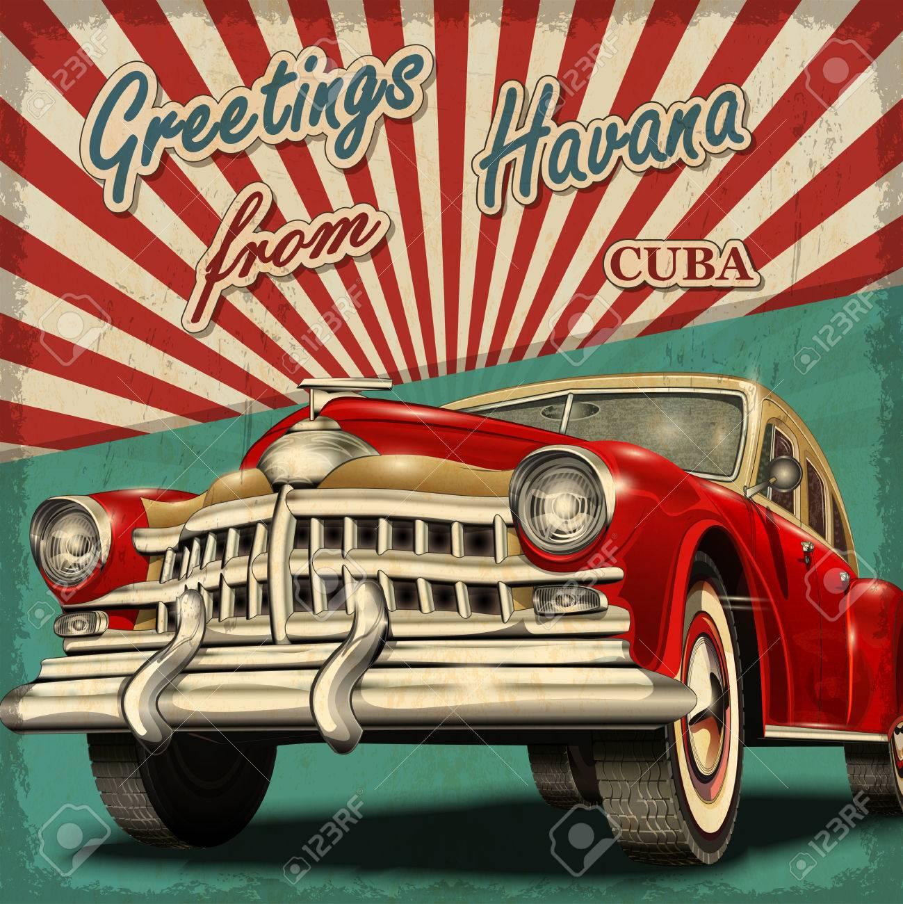 Vintage touristic greeting card with retro car.Havana.Cuba. - 70999407