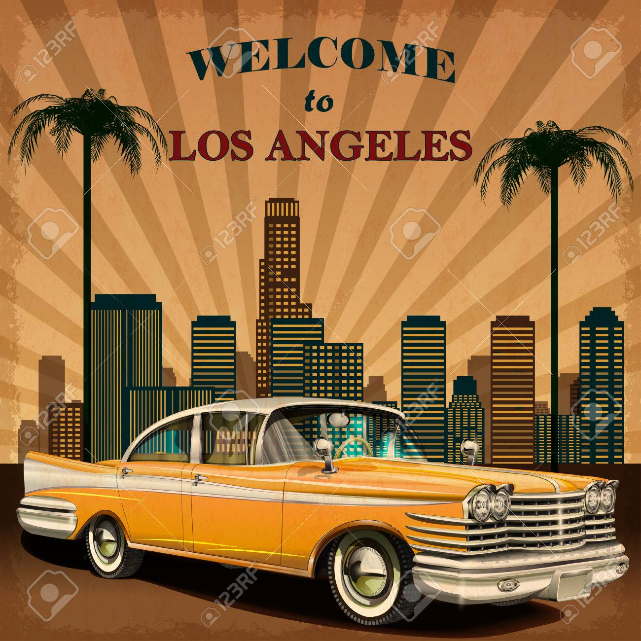 Welcome to Los Angeles retro poster. - 71337745