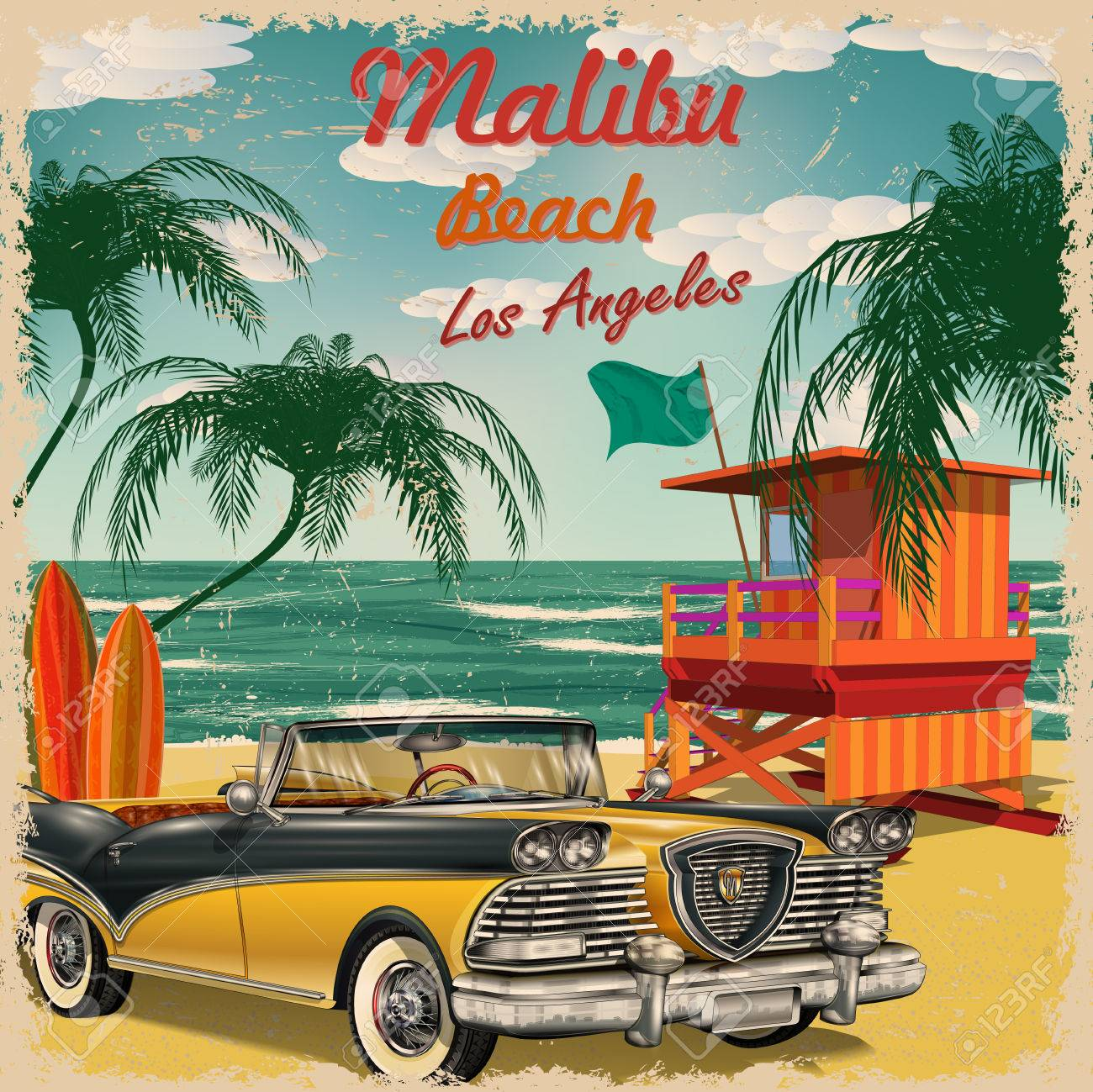Malibu Beach California Retro Poster Royalty Free Cliparts - Los angeles posters vintage