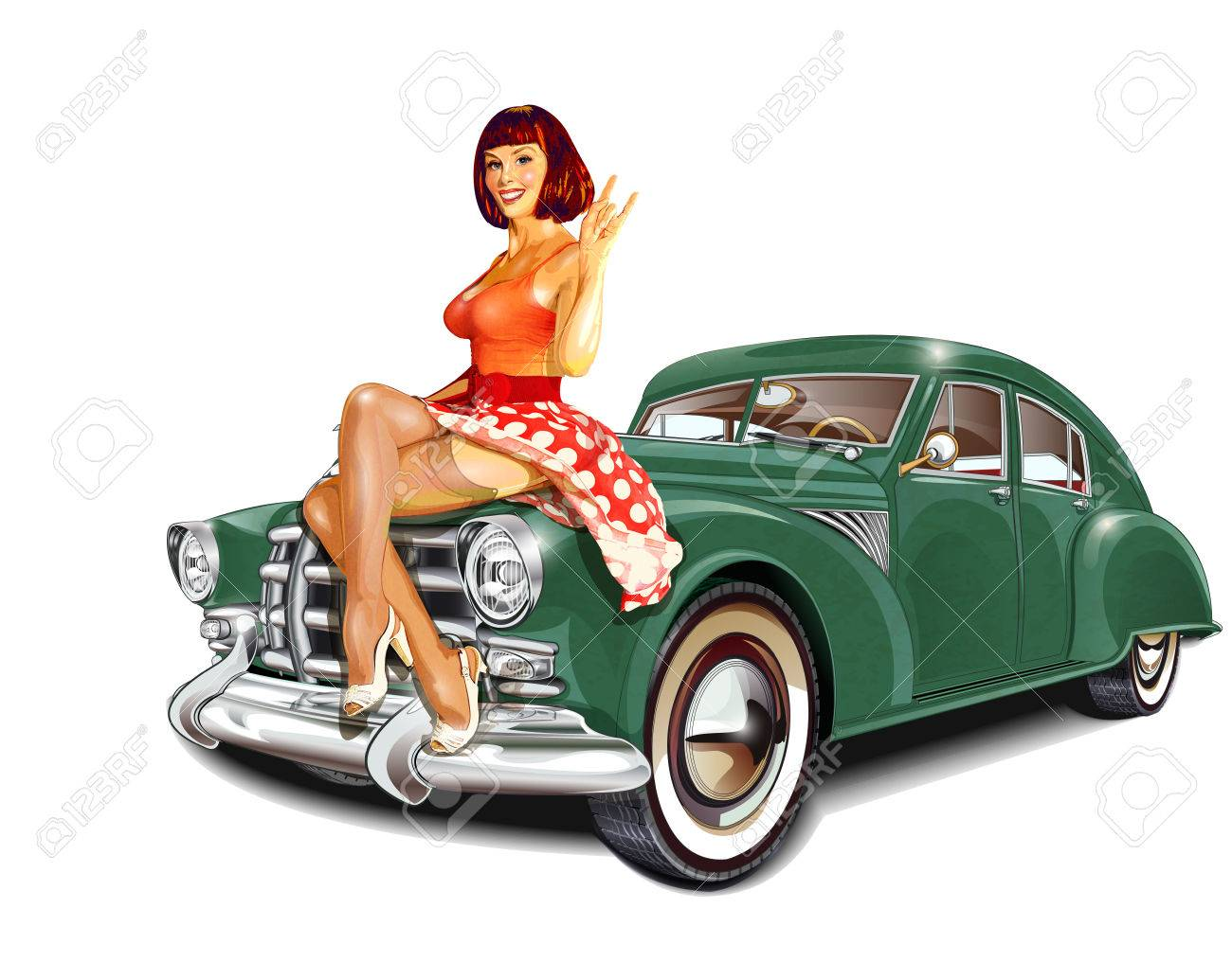 Pin-up girl and retro car isolated on white background - 71945621