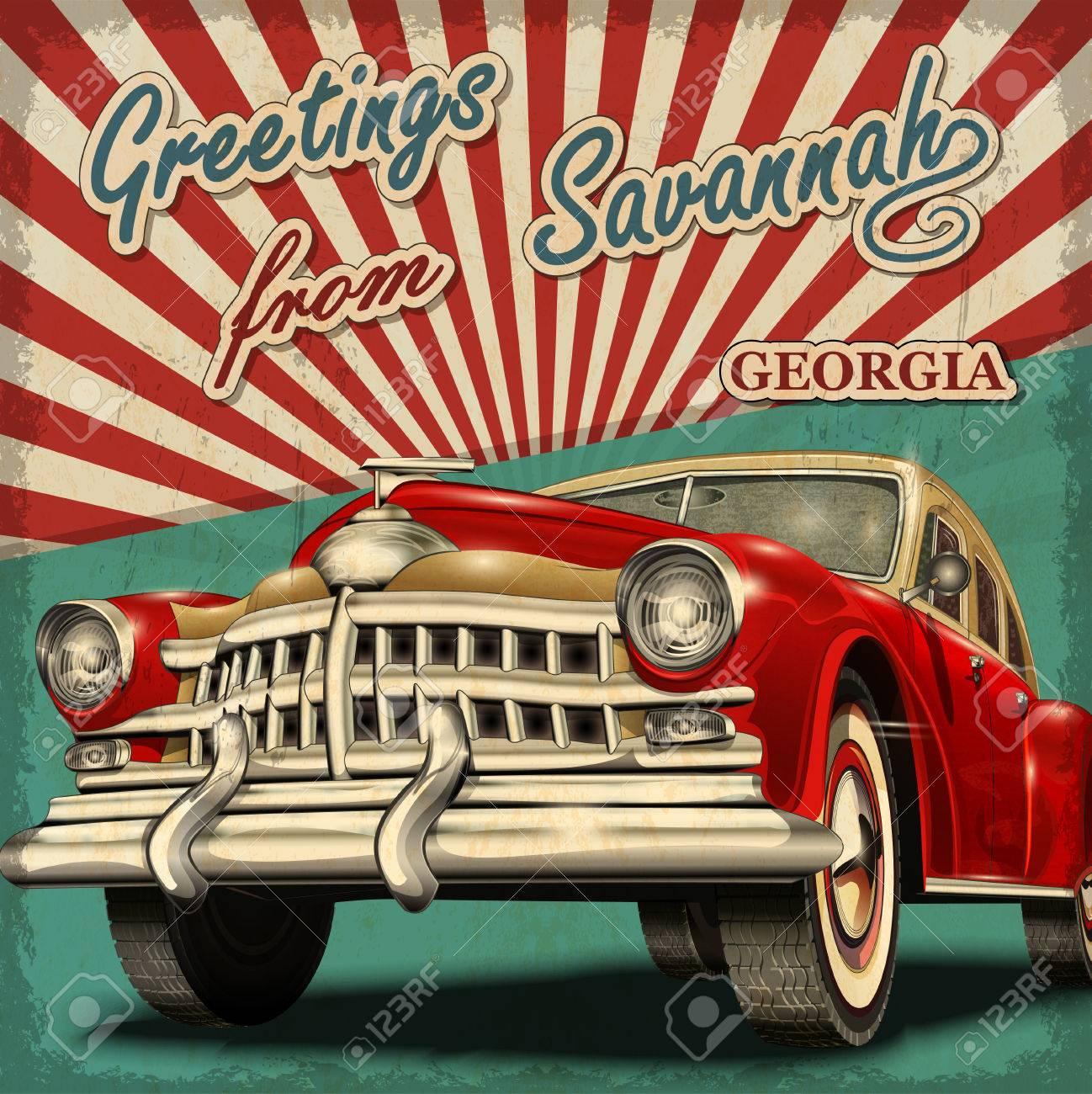 Vintage touristic greeting card with retro car Savannah Georgia