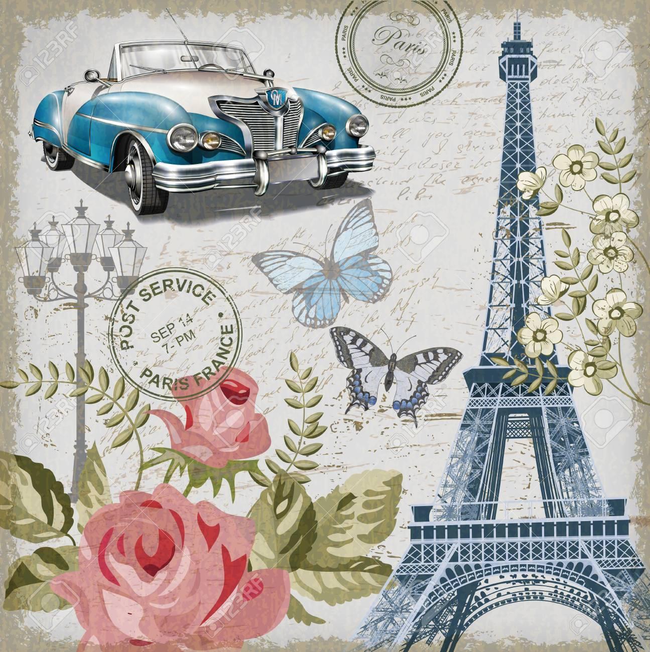 Paris vintage postcard. - 80926483