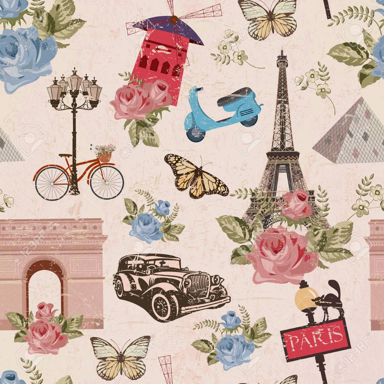 Seamless Paris Travel Wallpaper Vintage Background Royalty Free Cliparts Vectors And Stock Illustration Image 80926479