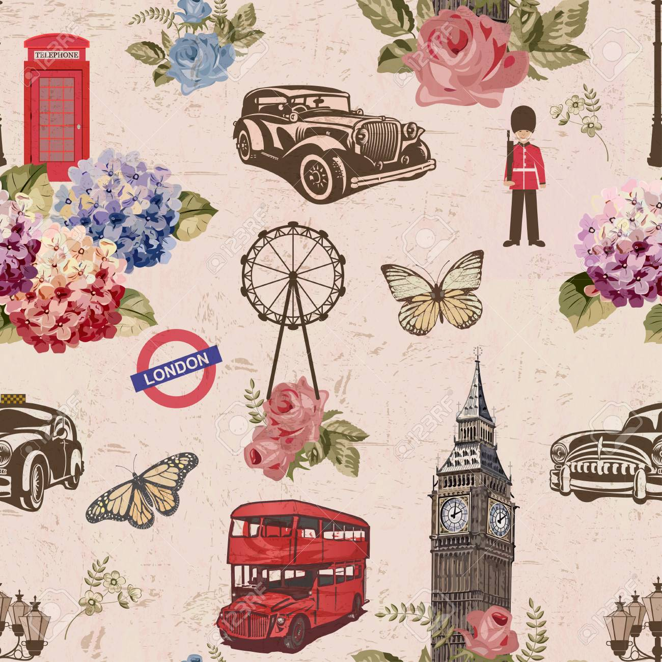 Seamless London Travel WallpaperVintage Background Stock Vector