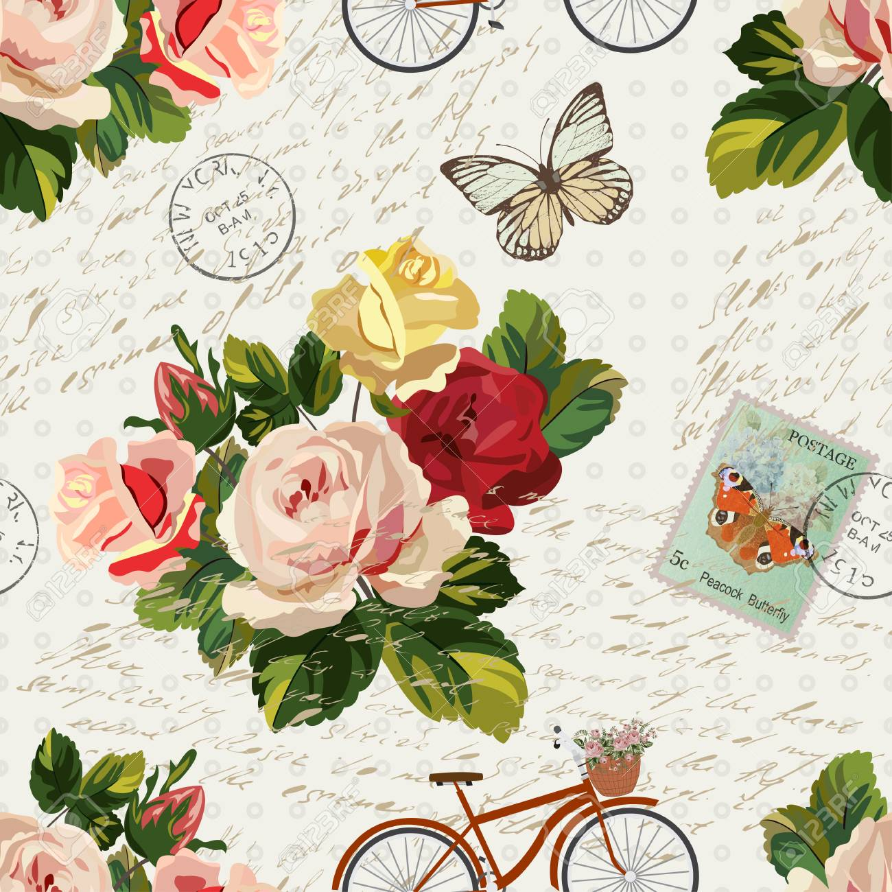 Fiori Vintage.Seamless Vintage Background With Flowers And Butterflies Royalty