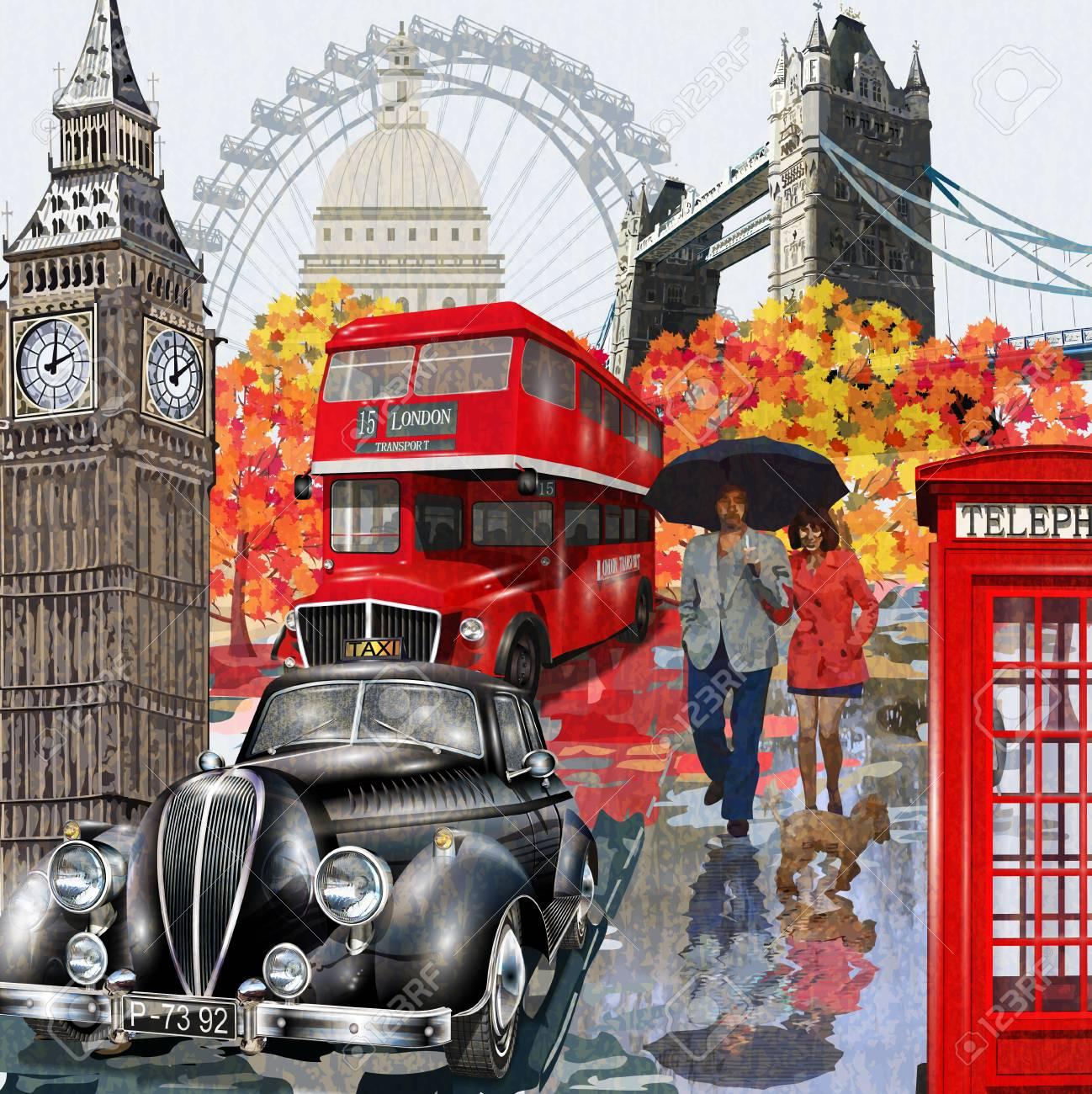 London vintage poster. - 82718199