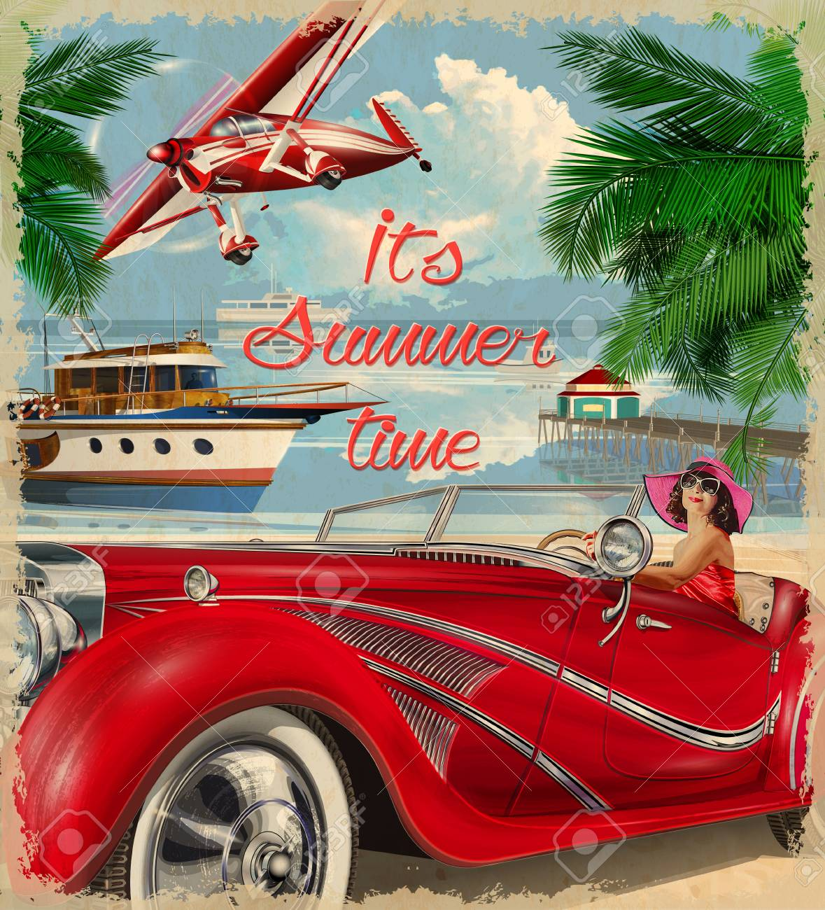 vector vintage summer holidays backgroundhappy woman driving a retro car