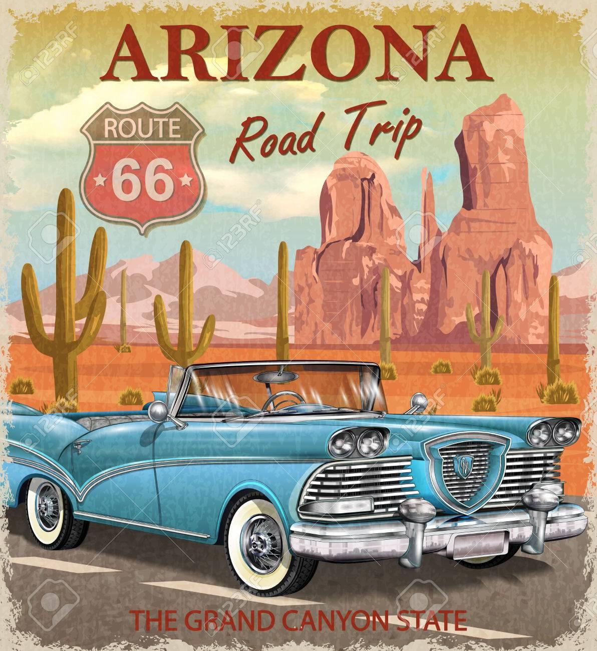 Vintage Arizona road trip poster. - 85234071