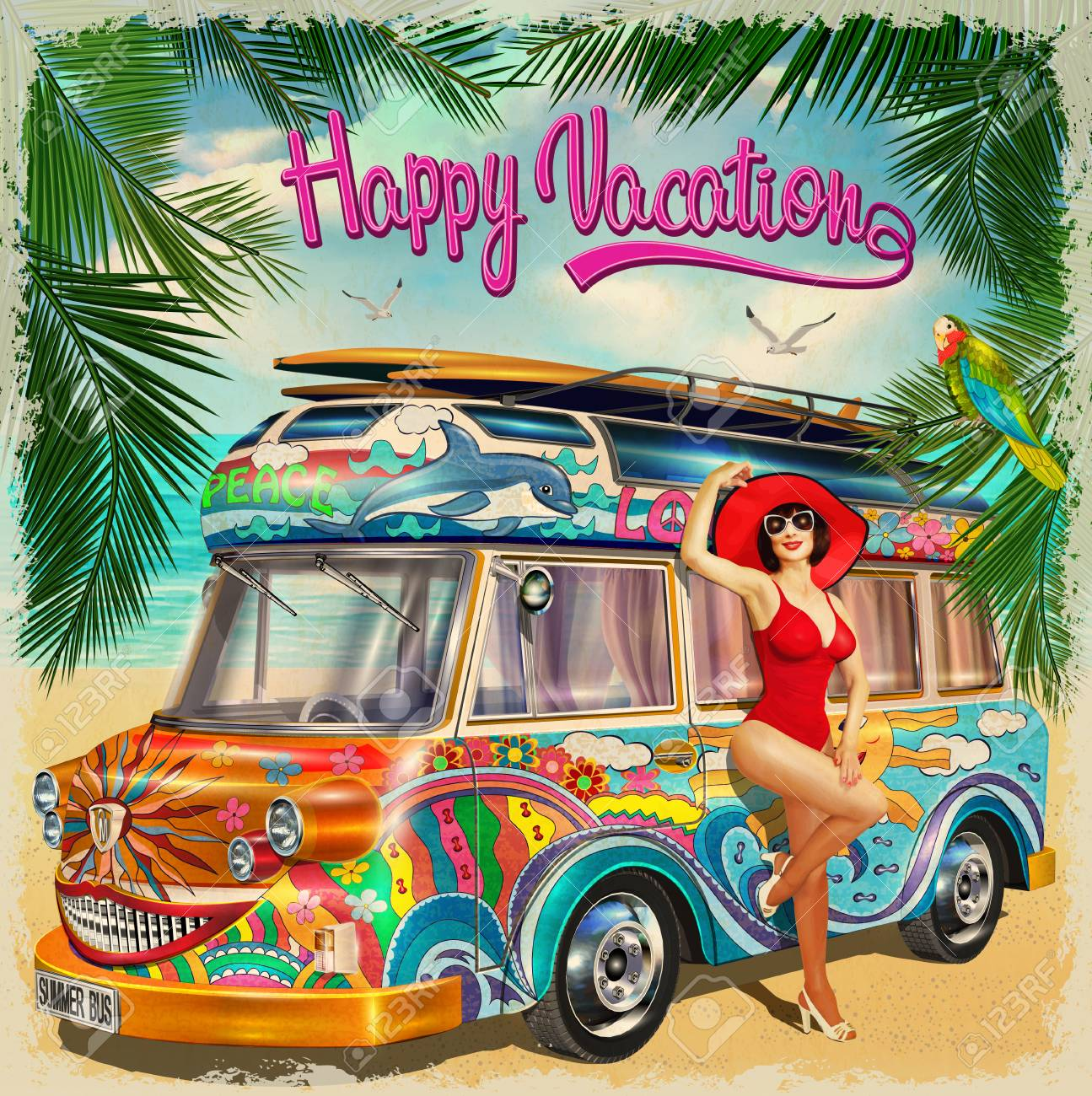 Summer holidays poster with retro bus and pin up girl.