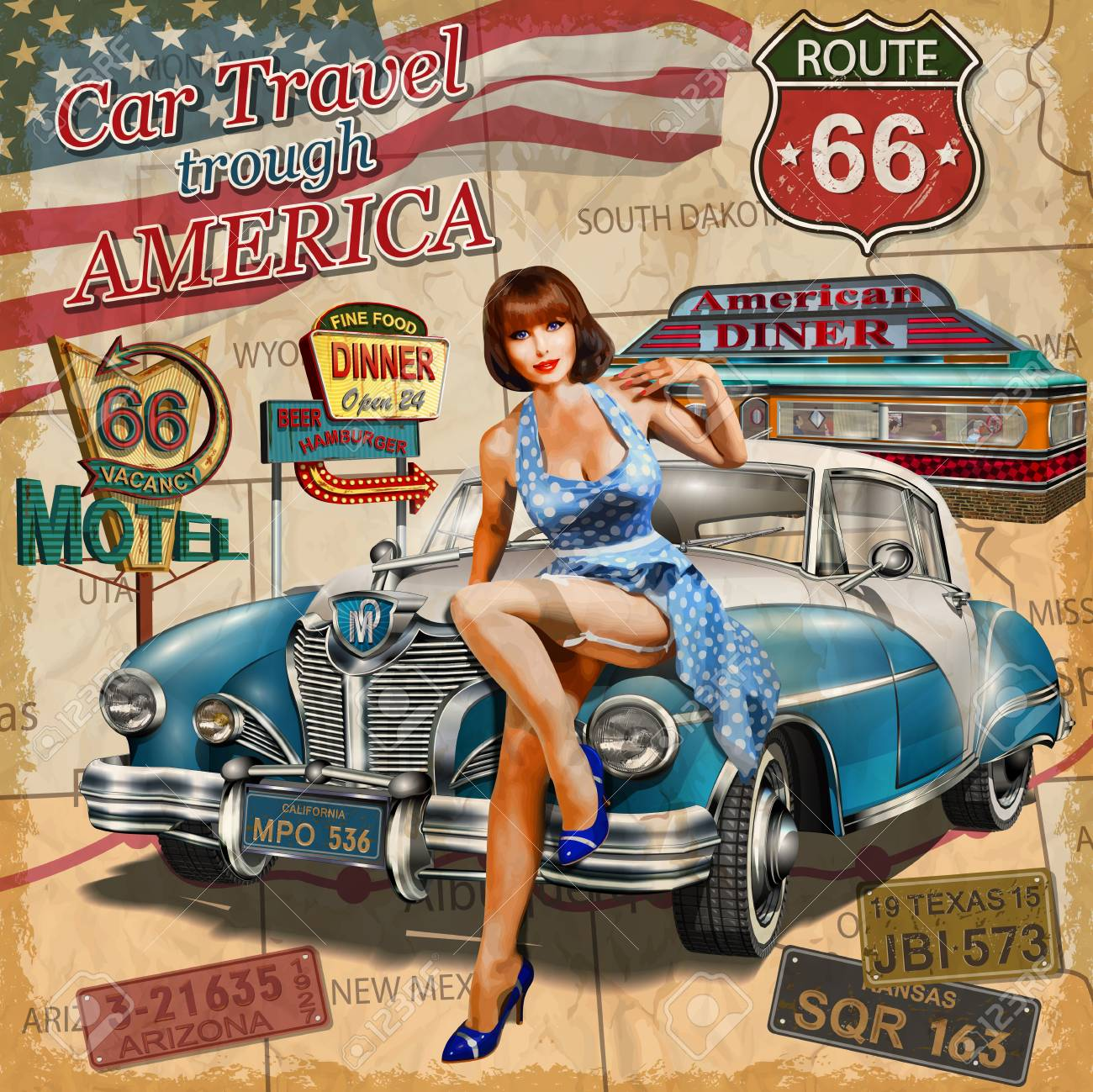 Car travel through America vintage poster. - 87869663