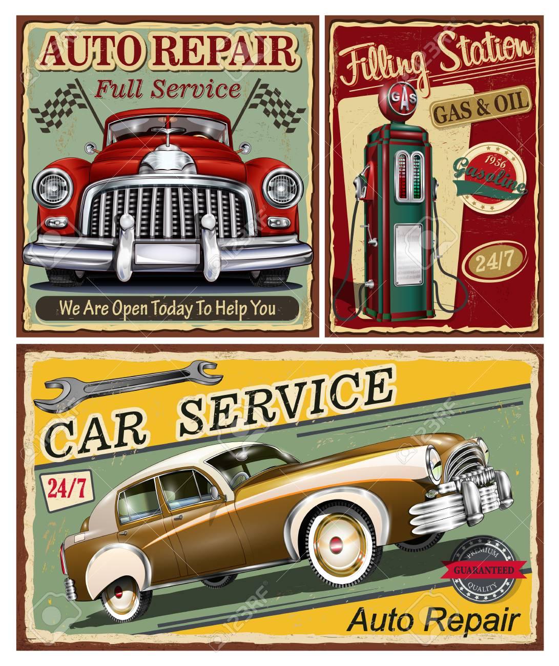 Set Of Vintage Car Metal Signs Garage Filling Station Retro