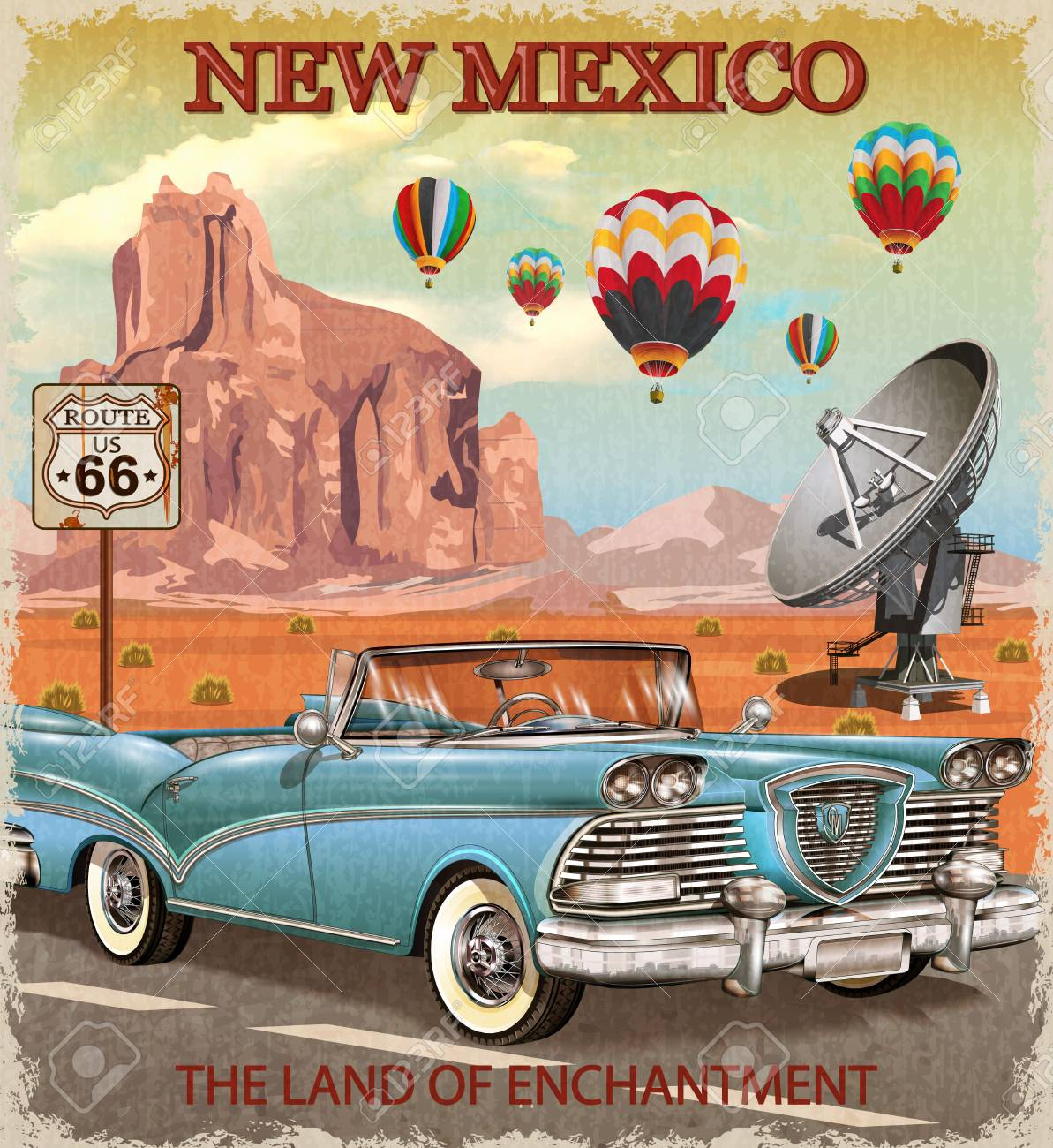 Vintage New Mexico road trip poster. - 88647938