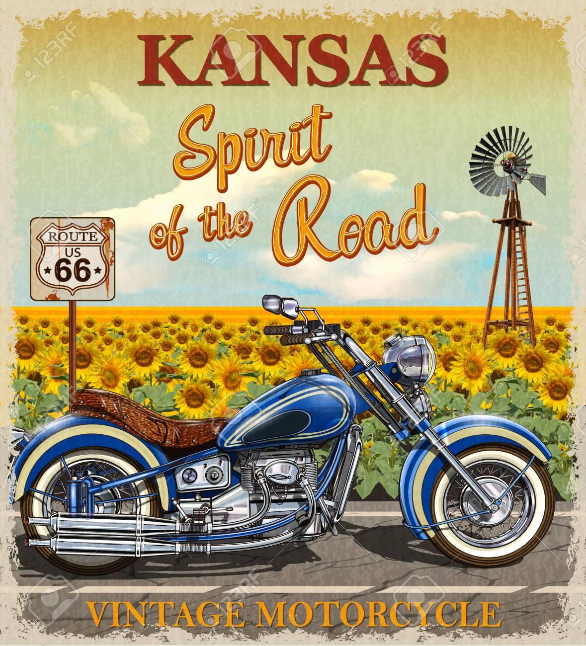 Vintage Route 66 Kansas motorcycle poster. - 90923042