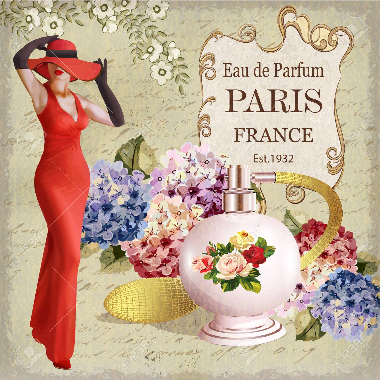 Vintage poster with beautiful young woman and bottle of perfume. - 90923048