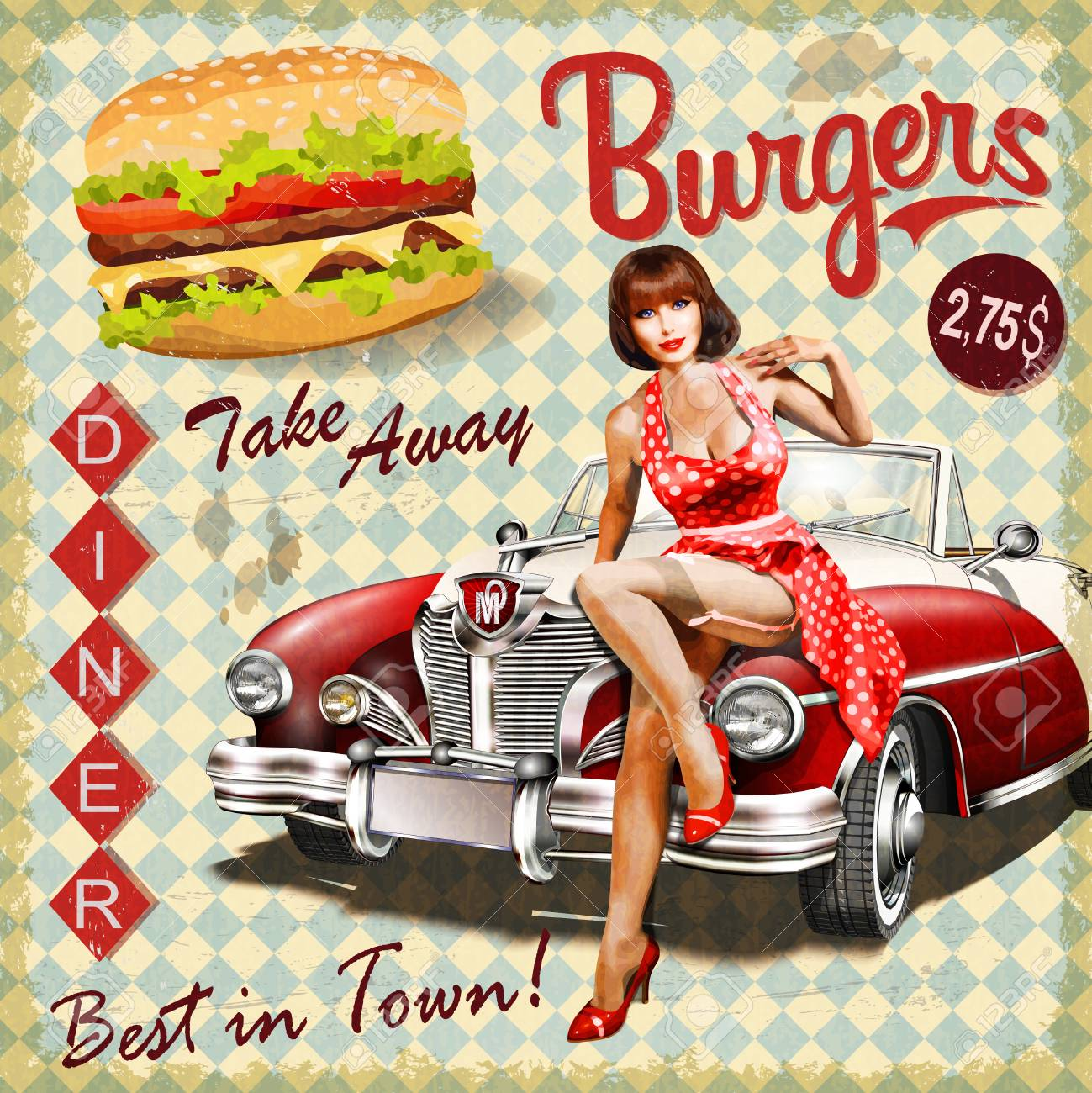 Burger vintage poster with pin-up girl and retro car. - 93083106